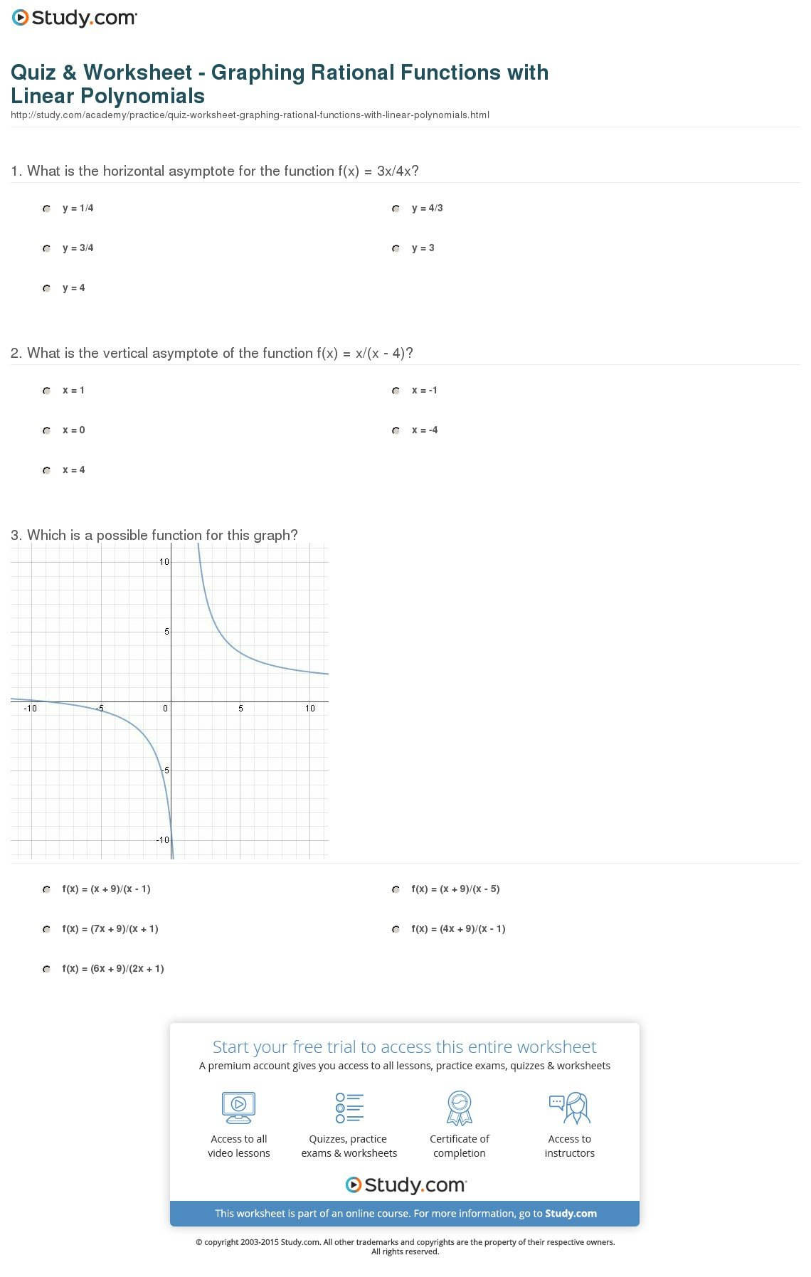 Quiz  Worksheet  Graphing Rational Functions With Linear As Well As Polynomial And Rational Functions Worksheet Answers