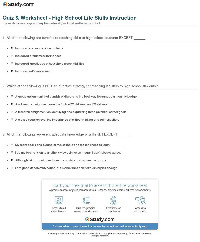 Quiz  Worksheet  High School Life Skills Instruction  Study For Life Skills For High School Students Worksheets