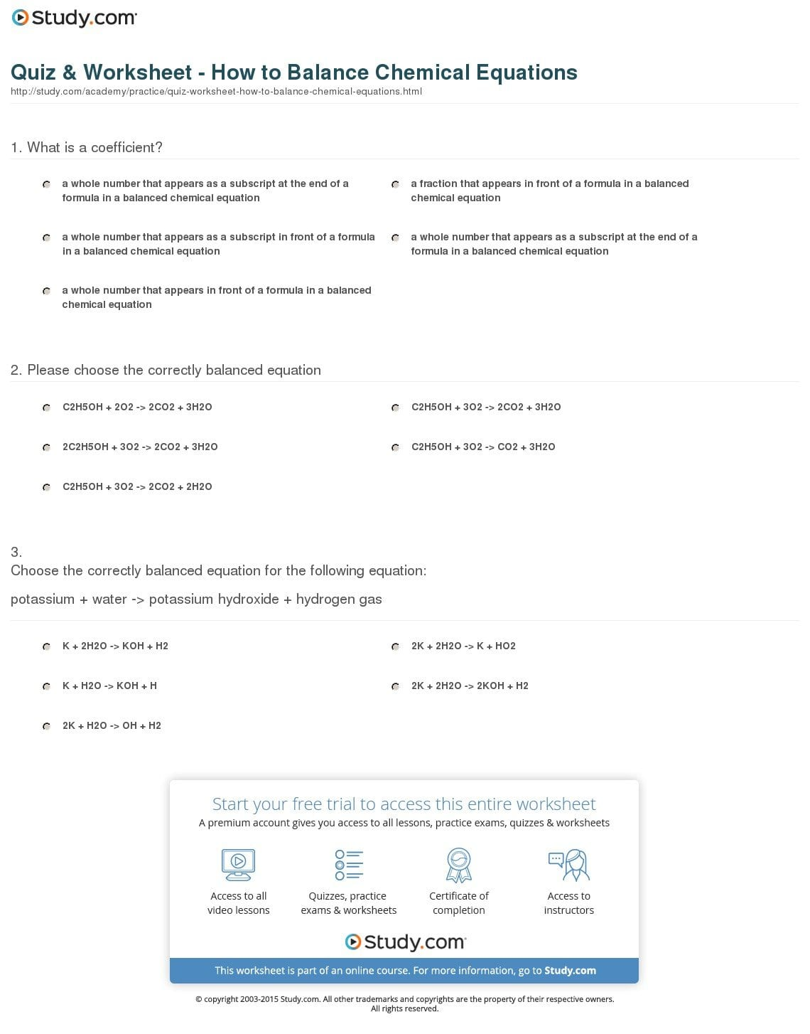 Quiz  Worksheet  How To Balance Chemical Equations  Study Also Introduction To Chemical Reactions Worksheet