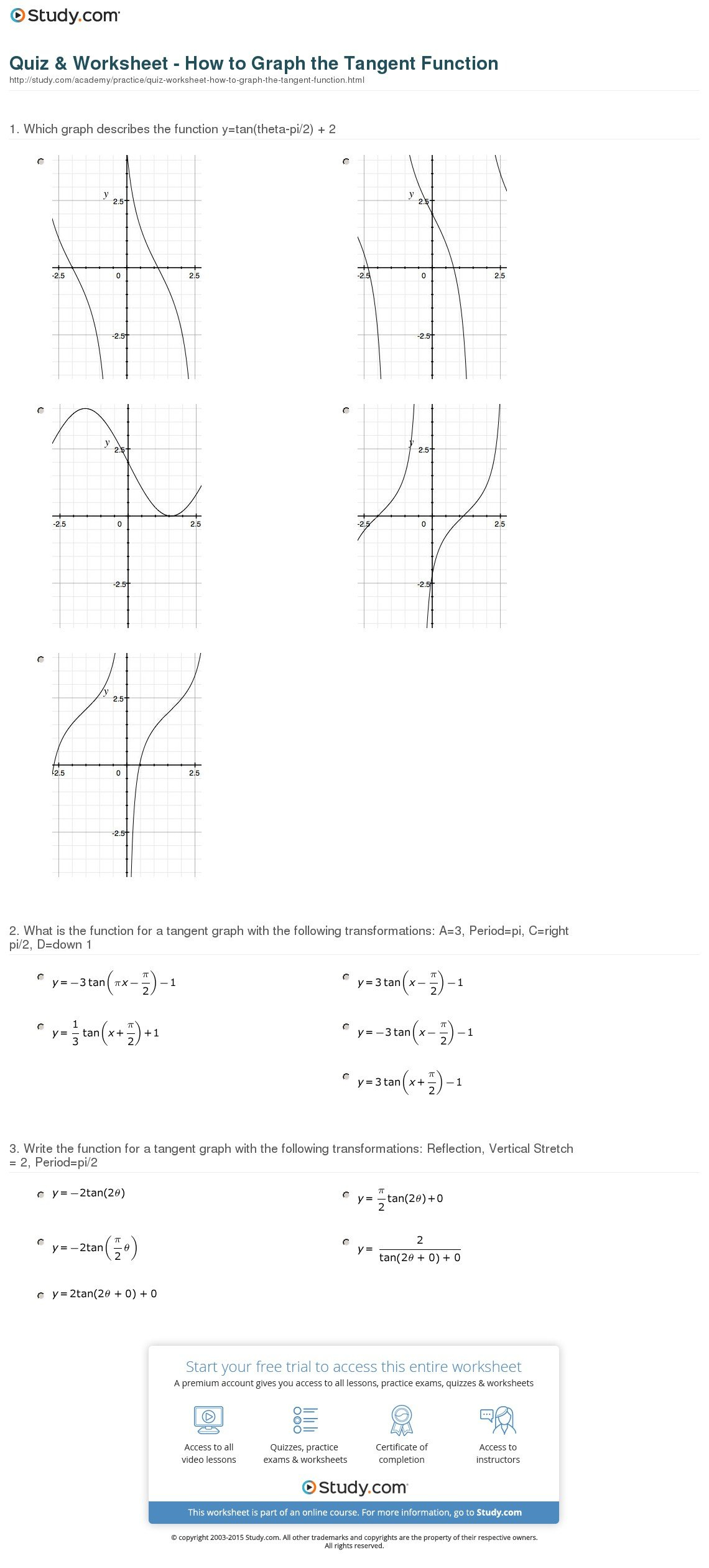 Quiz  Worksheet  How To Graph The Tangent Function  Study Inside Graphing Practice Worksheet