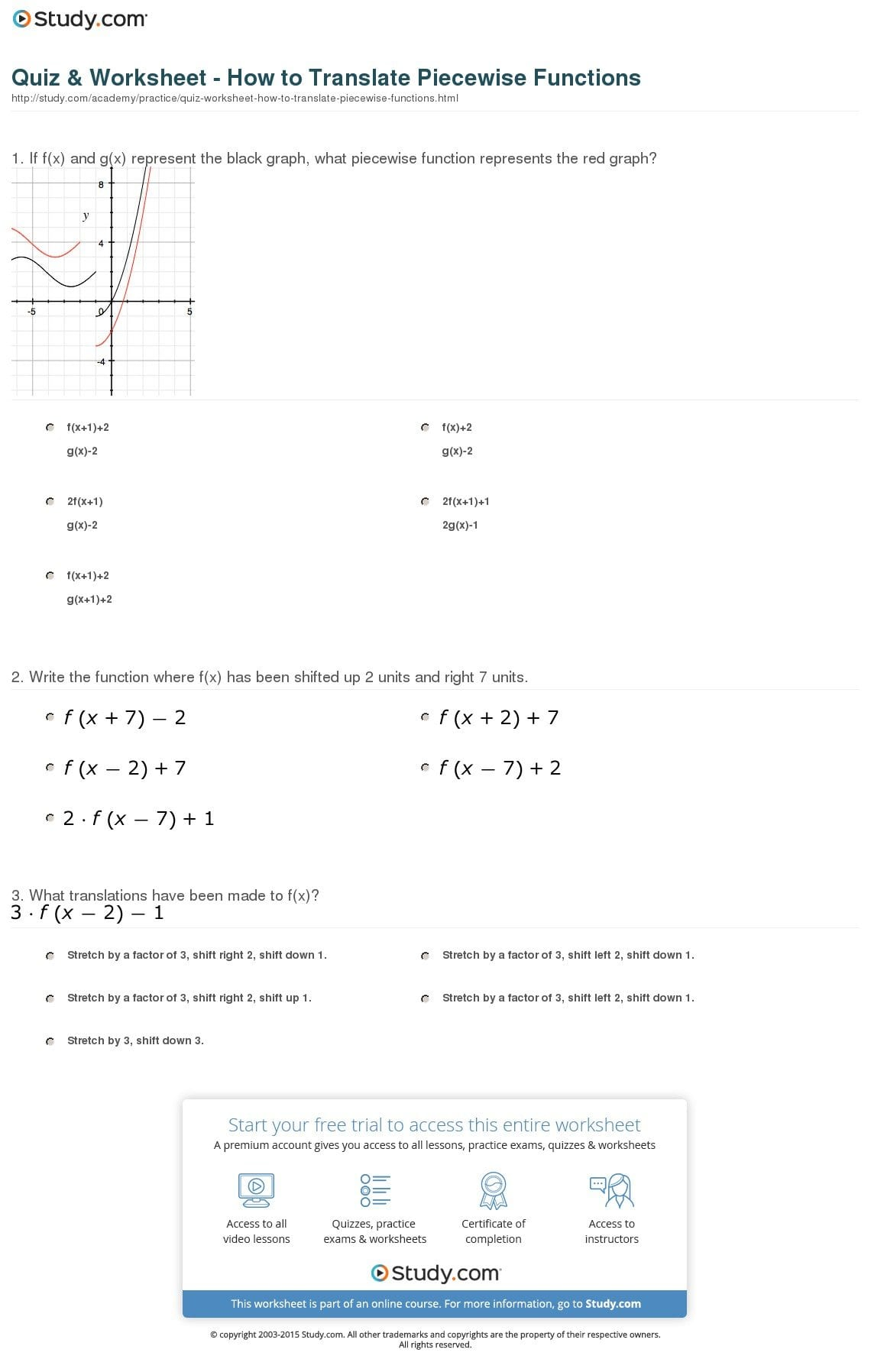 Quiz  Worksheet  How To Translate Piecewise Functions  Study And Translating Functions Worksheet