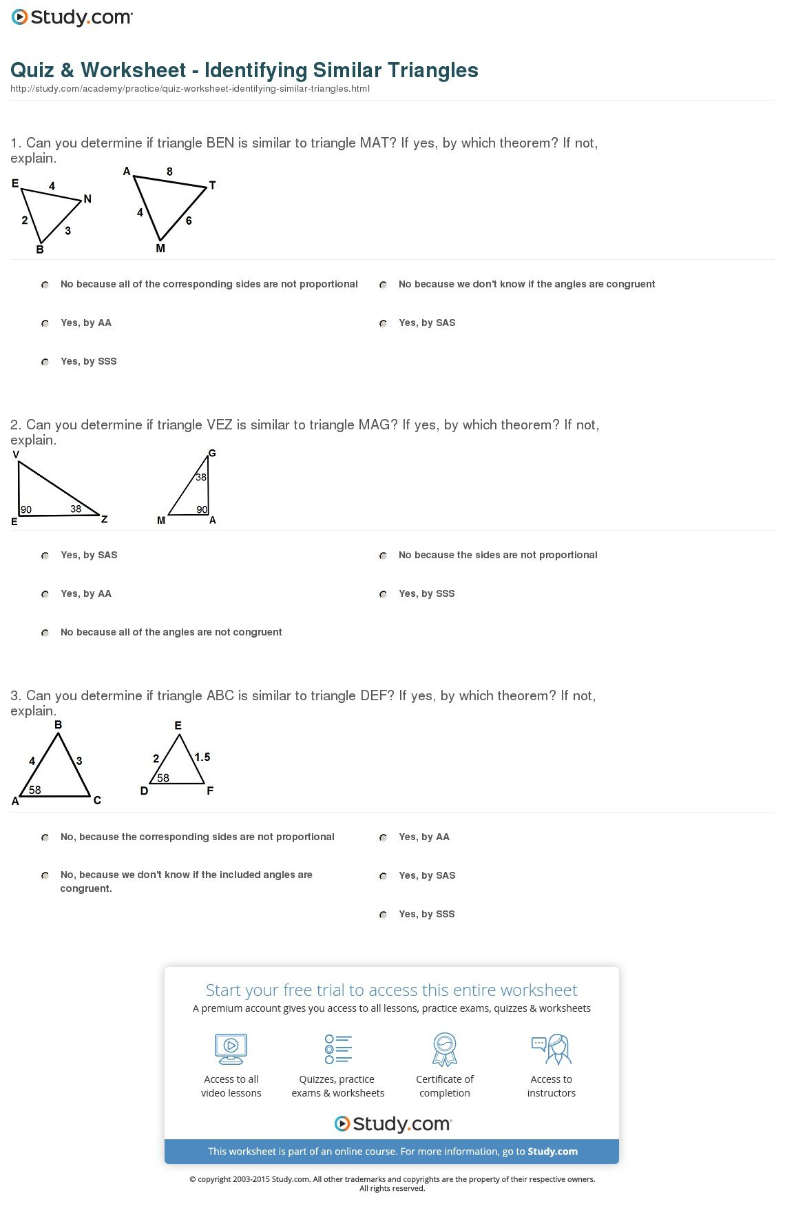 Quiz  Worksheet  Identifying Similar Triangles  Study In Congruence And Similarity Worksheet With Answers