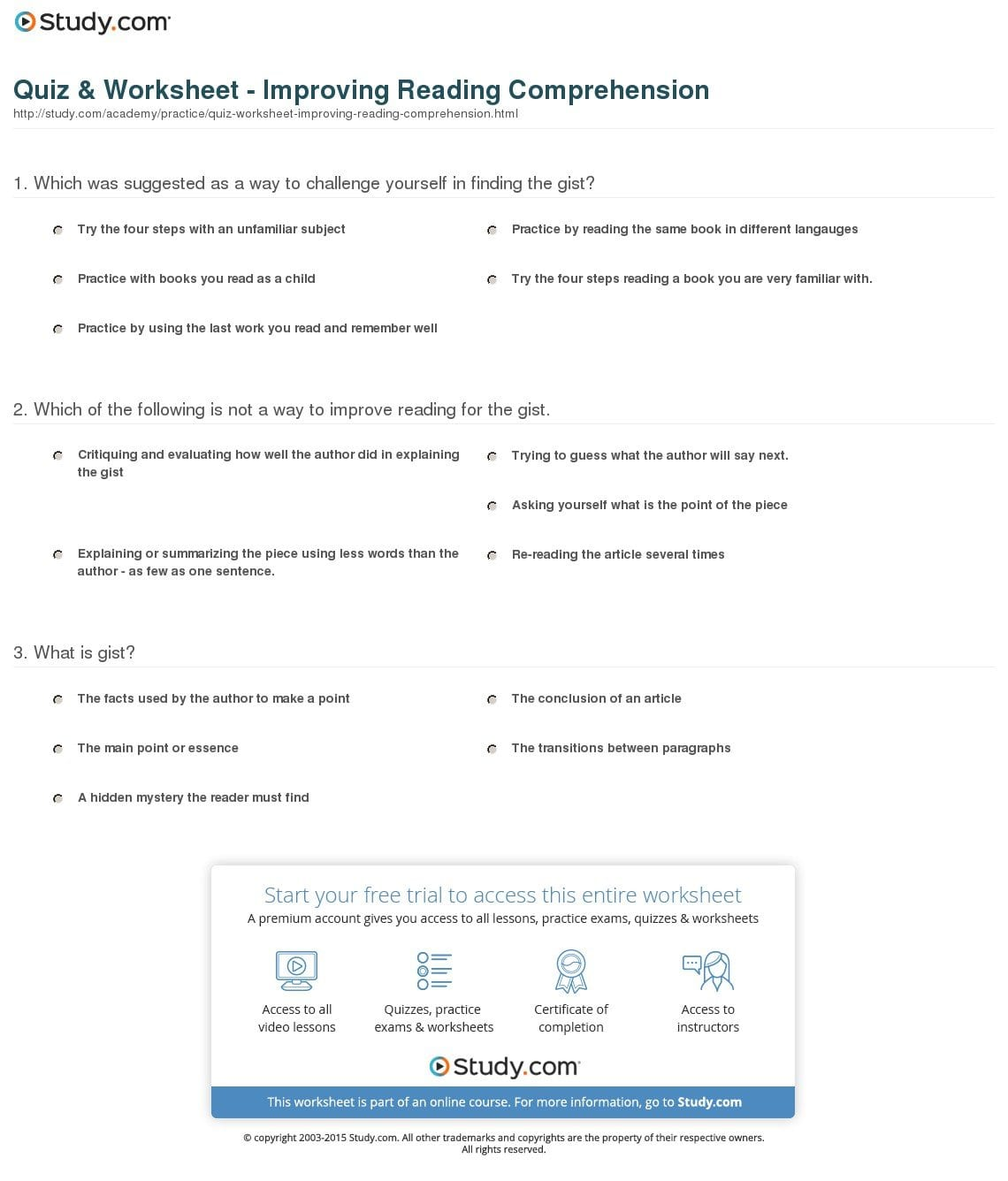 Quiz  Worksheet  Improving Reading Comprehension  Study With Read Theory Worksheets