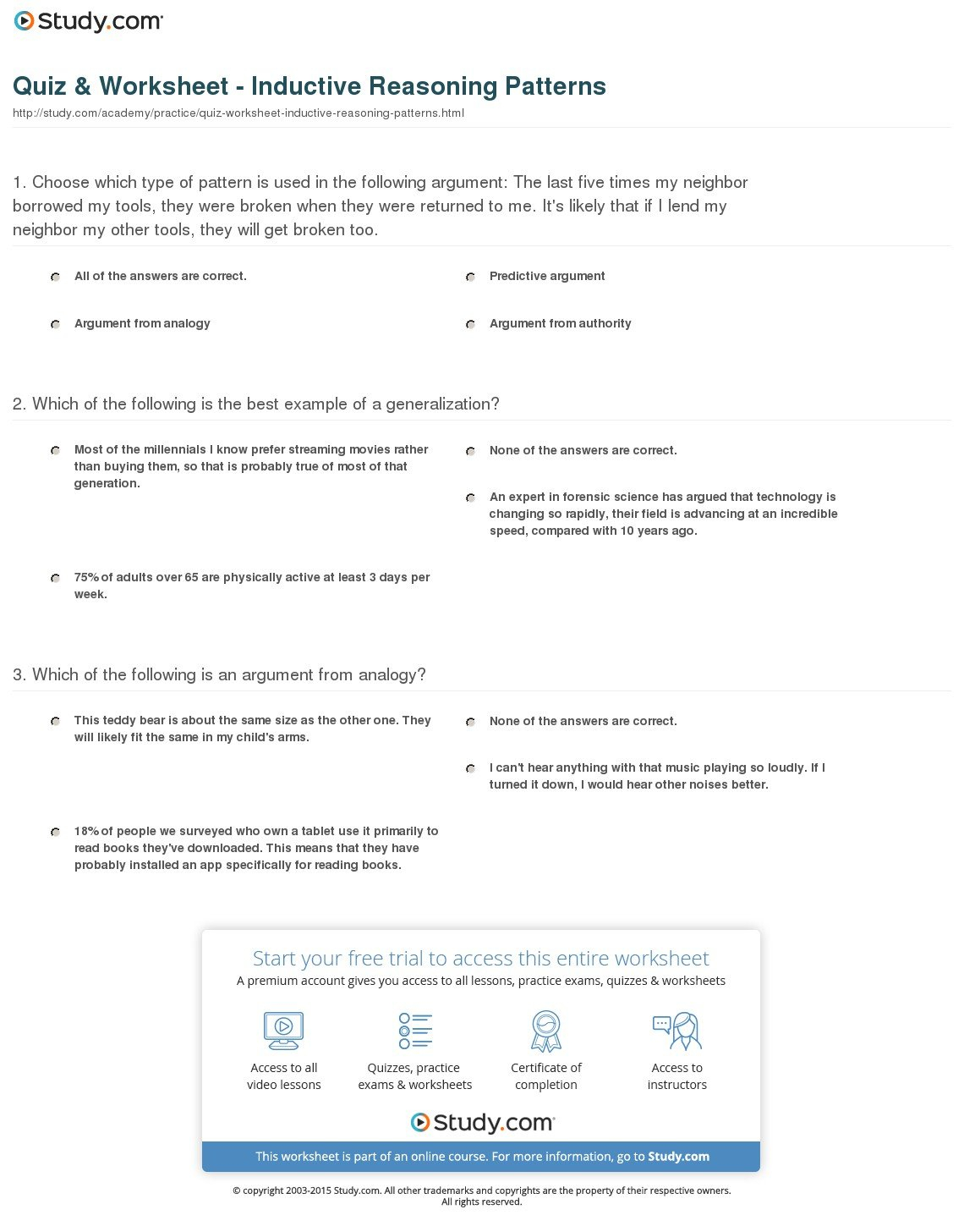 Quiz  Worksheet  Inductive Reasoning Patterns  Study In Patterns And Inductive Reasoning Worksheet And Answers