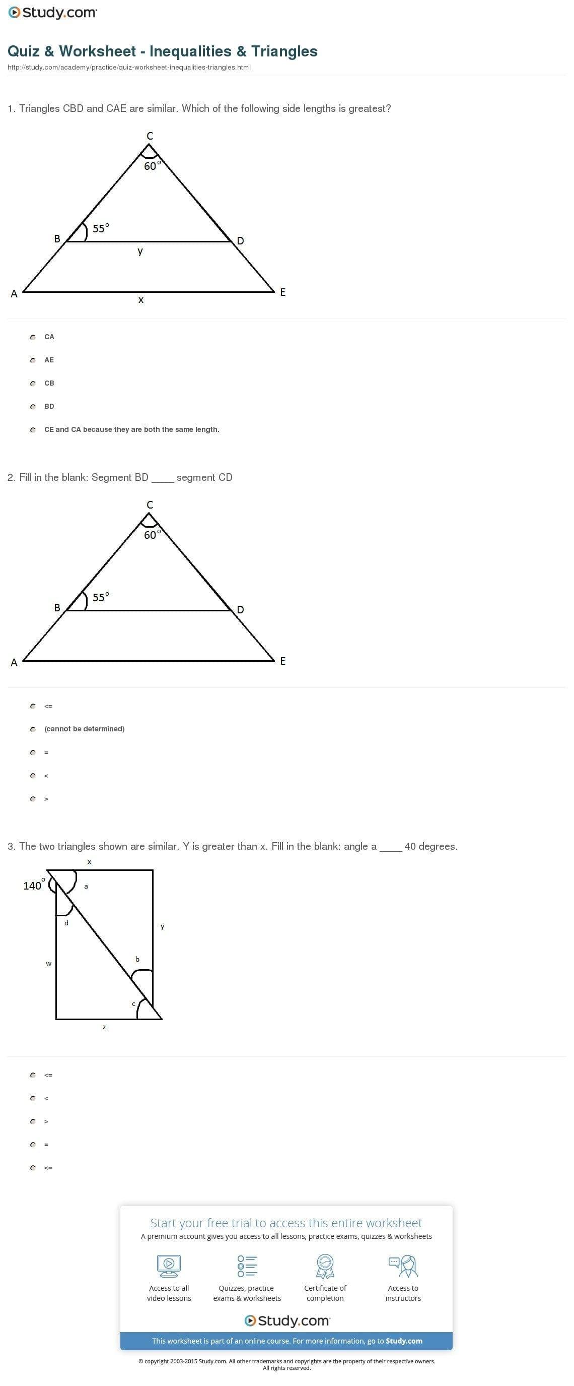 Quiz  Worksheet  Inequalities  Triangles  Study In Triangle Inequality Worksheet