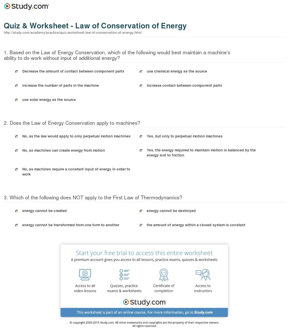 Quiz  Worksheet  Law Of Conservation Of Energy  Study Intended For Law Of Conservation Of Energy Worksheet