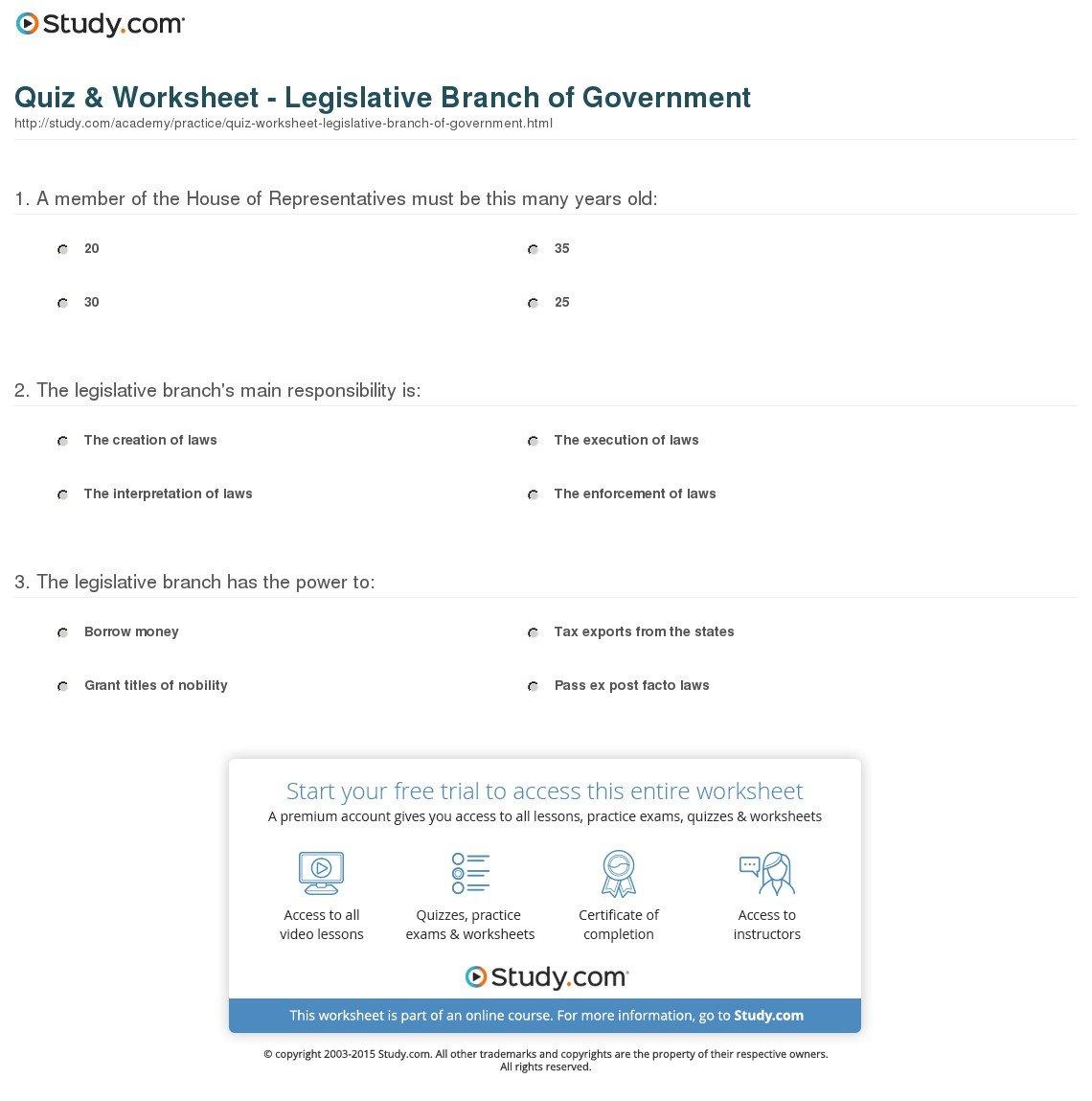 Quiz  Worksheet  Legislative Branch Of Government  Study For Legislative Branch Worksheet Answers