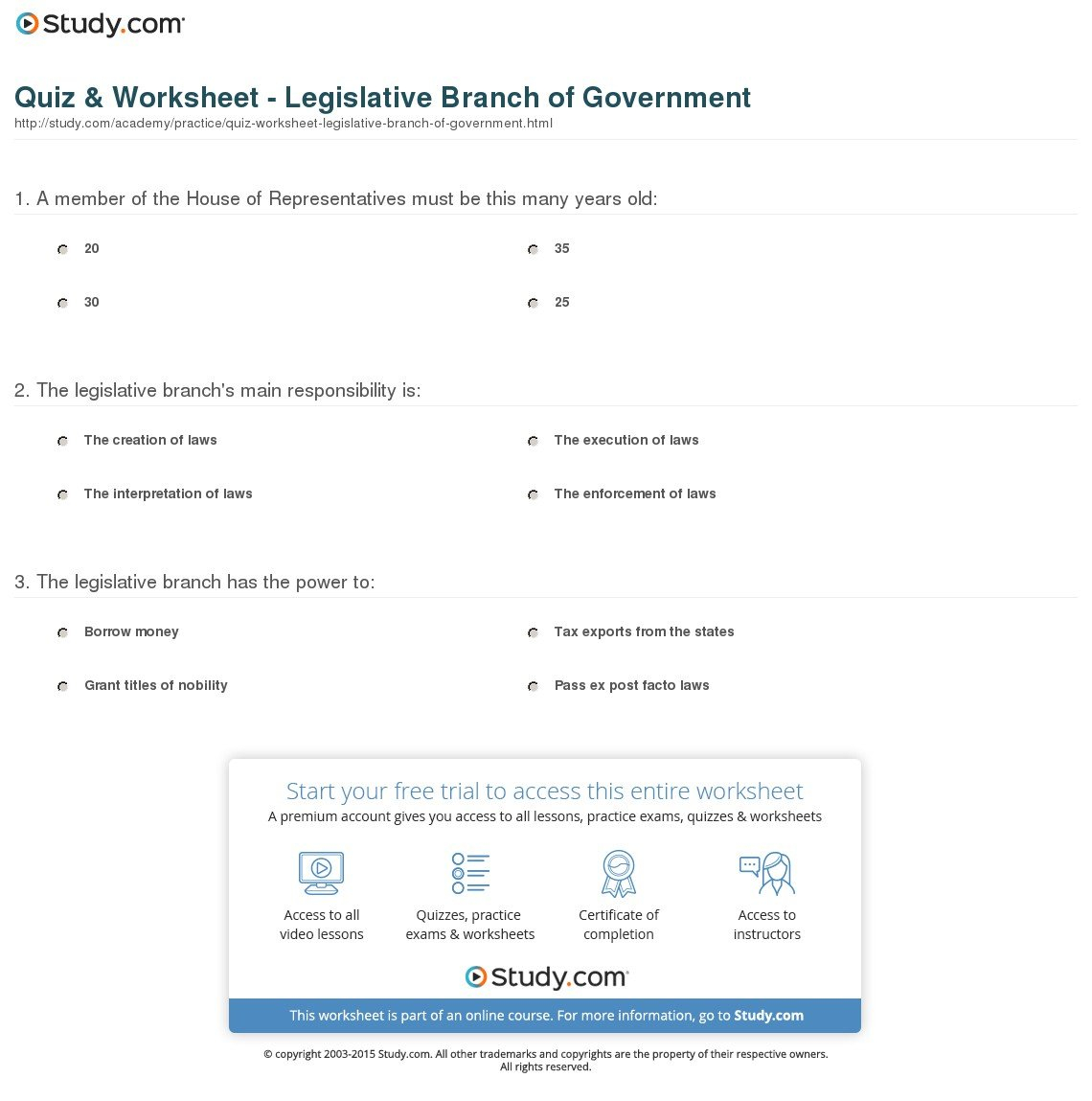 Quiz  Worksheet  Legislative Branch Of Government  Study With Regard To Legislative Branch Worksheet Middle School