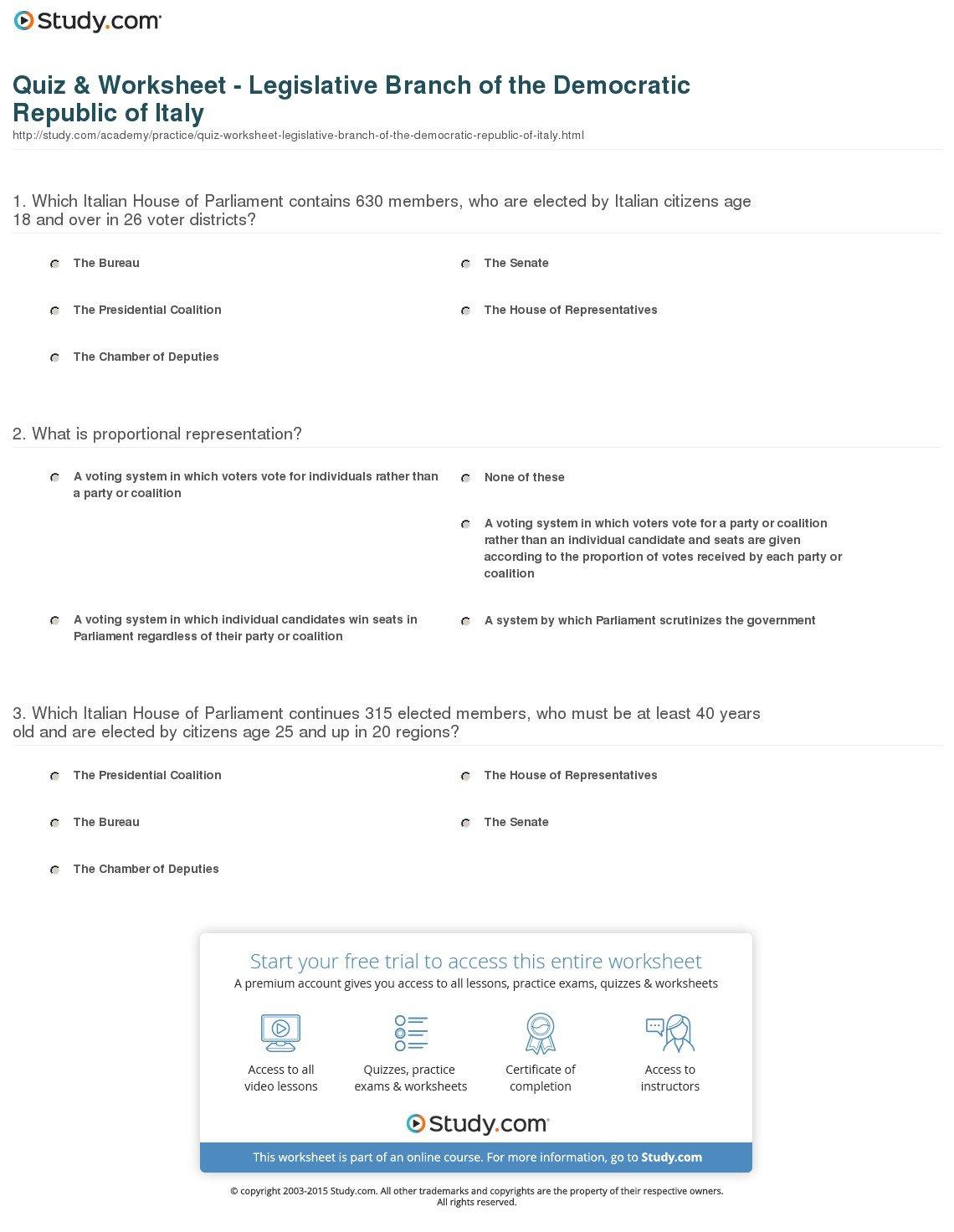Quiz  Worksheet  Legislative Branch Of The Democratic Republic Of For Legislative Branch Worksheet Answers