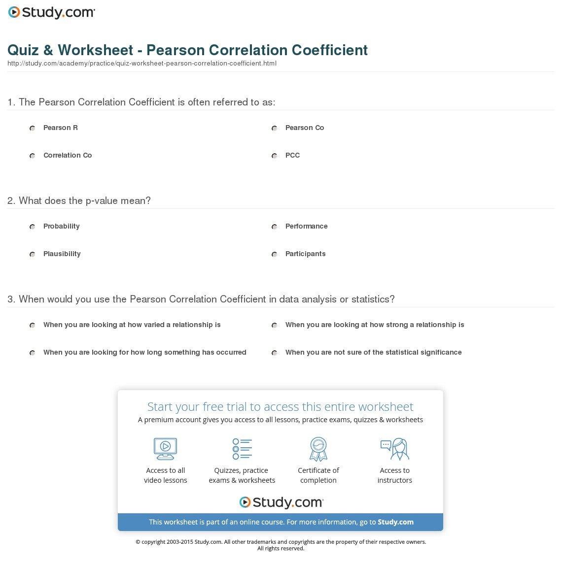 Quiz  Worksheet  Pearson Correlation Coefficient  Study For Linear Regression And Correlation Coefficient Worksheet