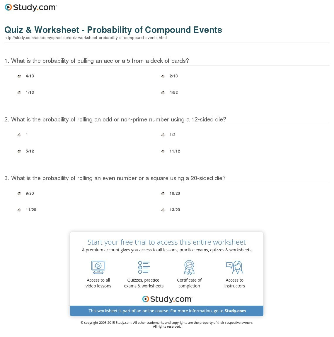 Quiz  Worksheet  Probability Of Compound Events  Study Along With Probability Of Compound Events Worksheet