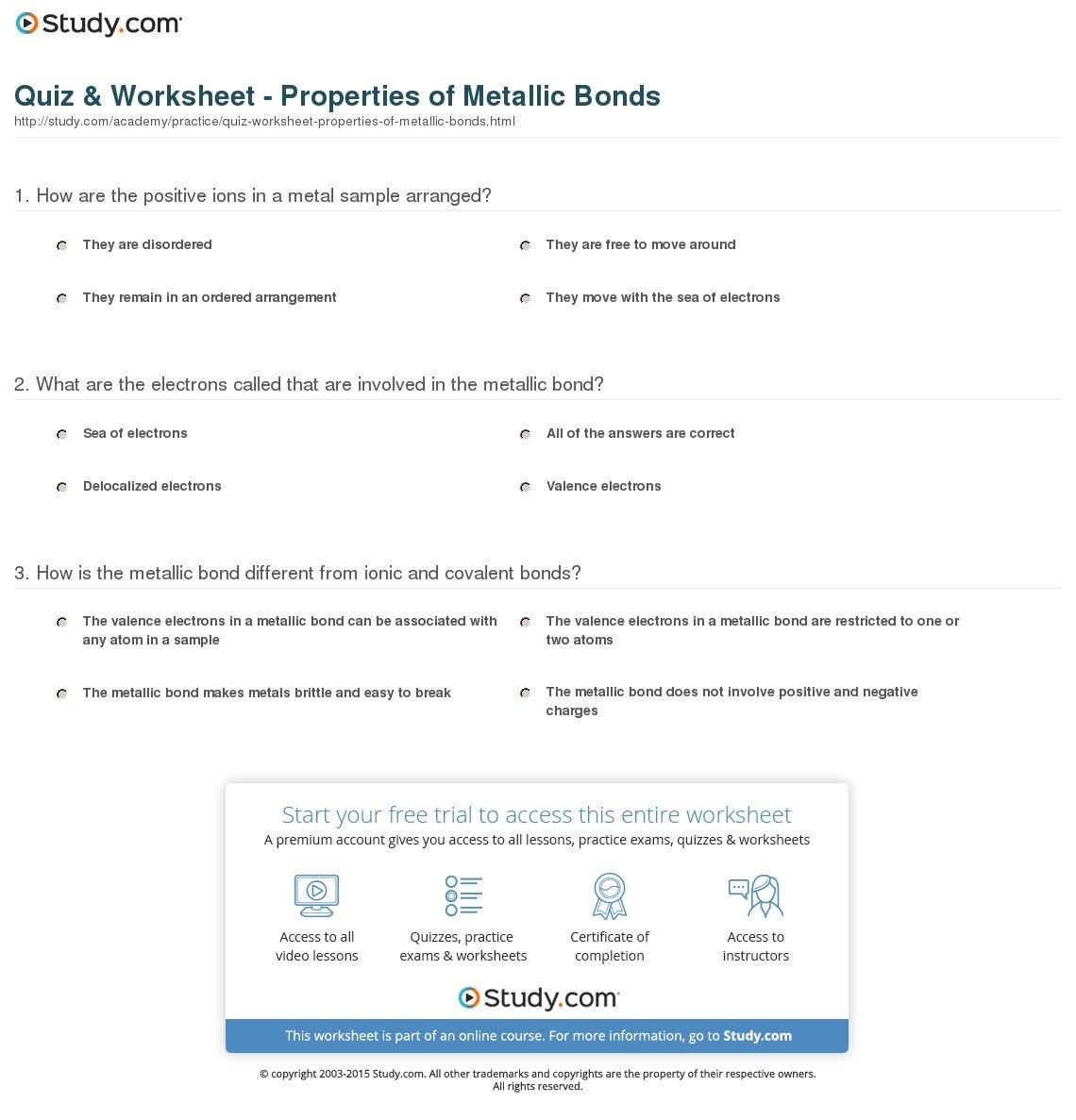 Quiz  Worksheet  Properties Of Metallic Bonds  Study Along With Worksheet 10 Metallic Bonds Answers