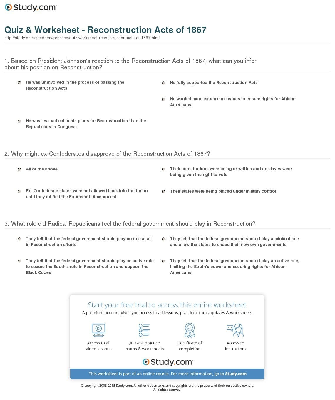 Quiz  Worksheet  Reconstruction Acts Of 1867  Study Together With Radical Republican Reconstruction Worksheet Answers