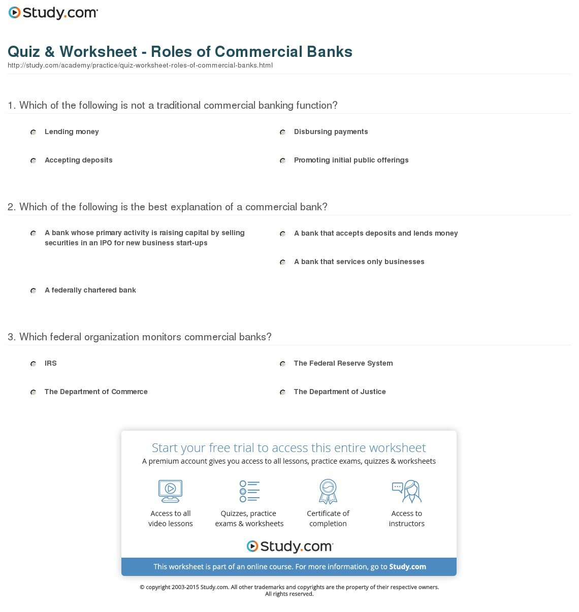 Quiz  Worksheet  Roles Of Commercial Banks  Study In Banks Credit And The Economy Worksheet Answers