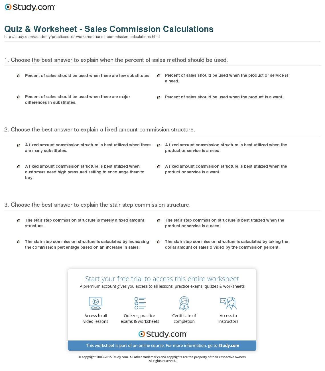 Quiz  Worksheet  Sales Commission Calculations  Study Within Sales Commission Worksheet