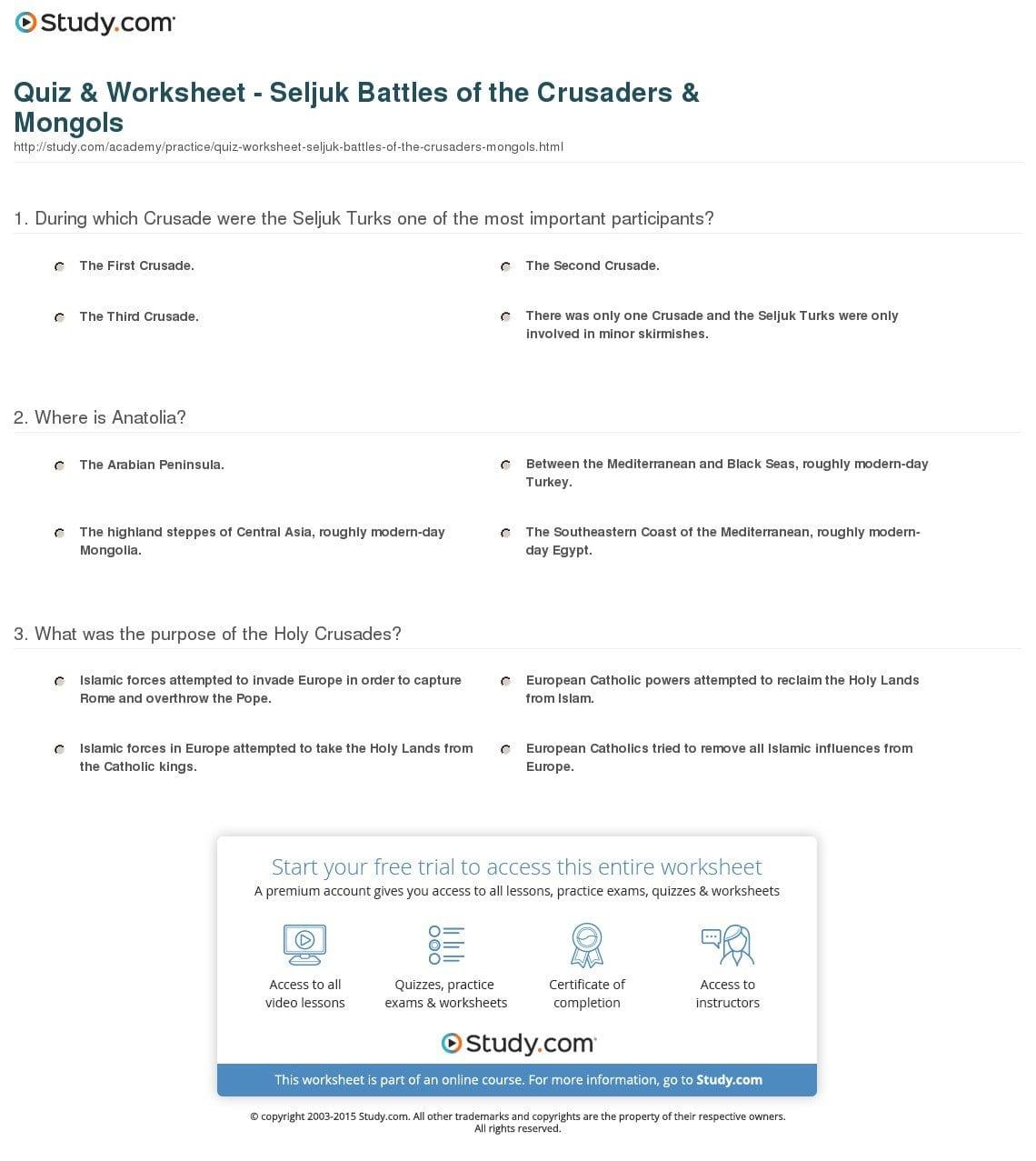 Quiz  Worksheet  Seljuk Battles Of The Crusaders  Mongols  Study Or The Crusades Worksheet