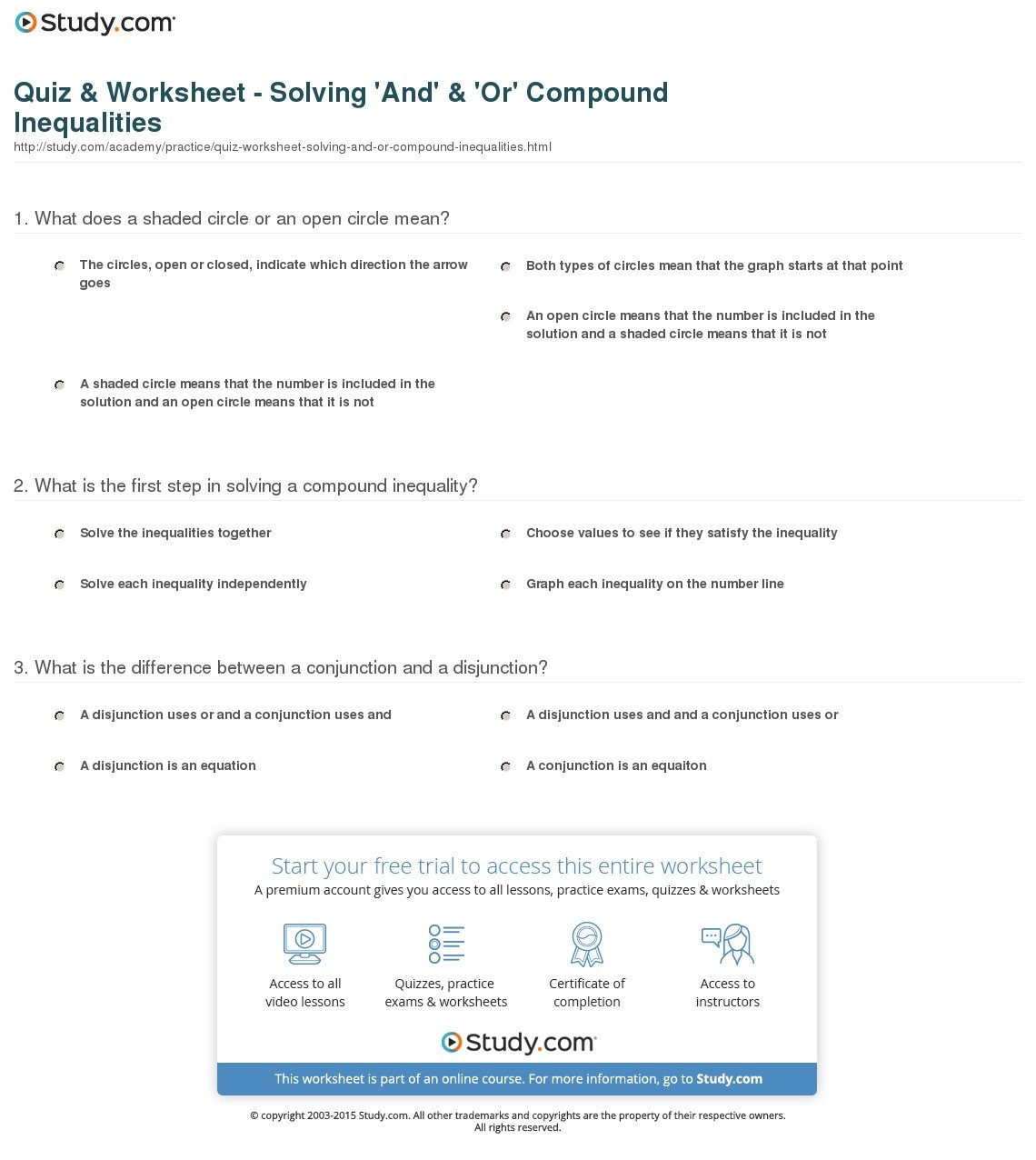 Quiz  Worksheet  Solving 'and'  'or' Compound Inequalities For Compound Inequalities Worksheet