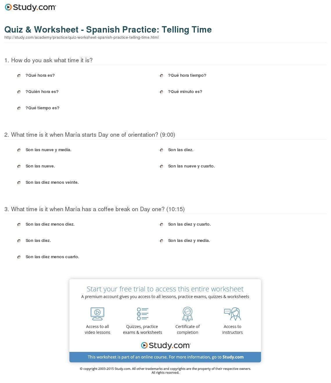 Quiz  Worksheet  Spanish Practice Telling Time  Study Pertaining To Spanish Clock Worksheet Answers