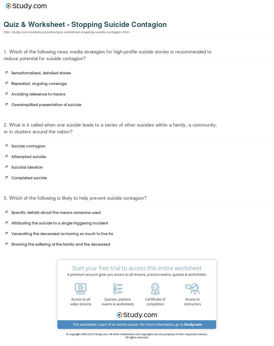 Quiz  Worksheet  Stopping Suicide Contagion  Study Together With Contagion Worksheet Answers