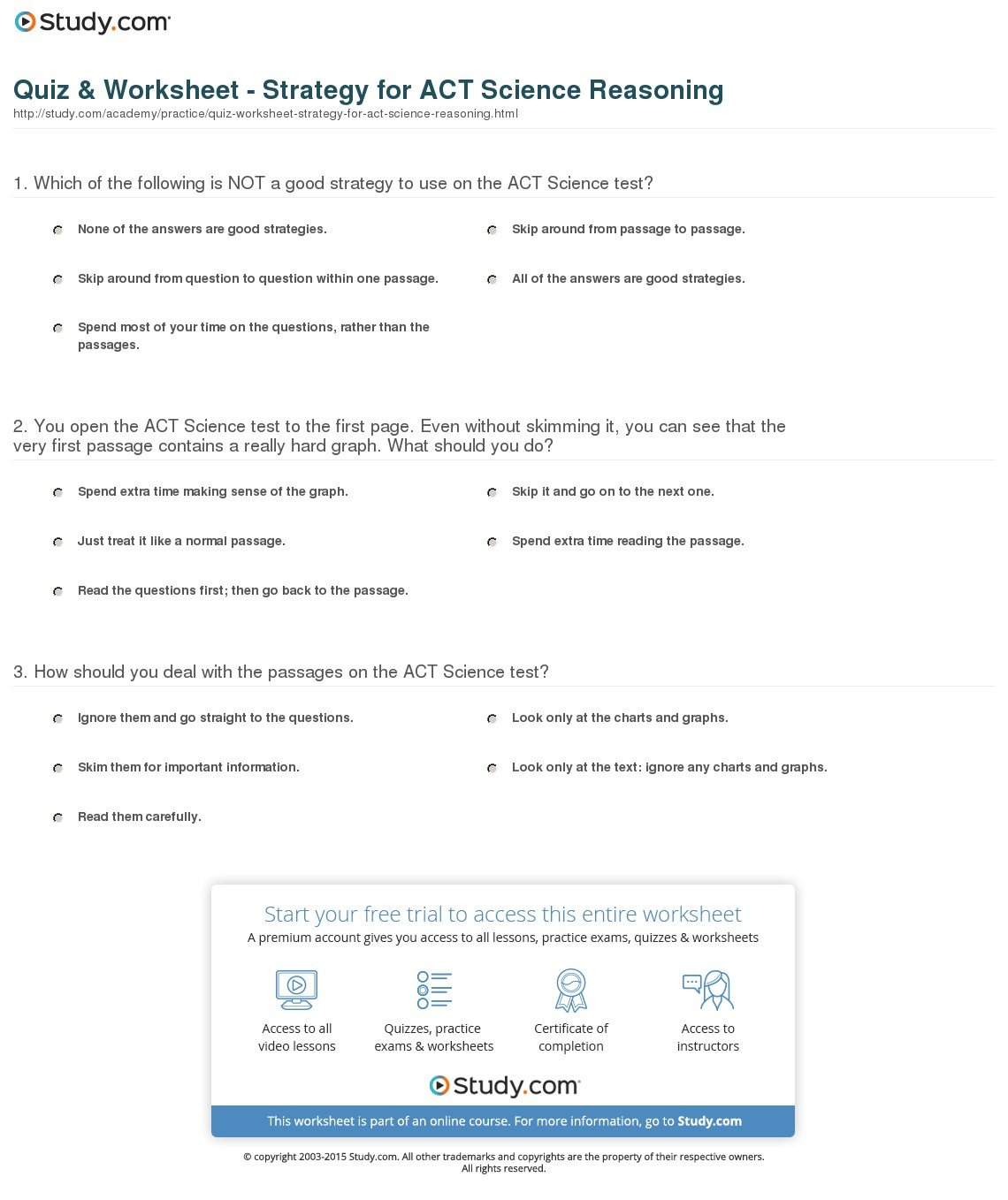 Quiz  Worksheet  Strategy For Act Science Reasoning  Study Throughout Act Prep Science Worksheets