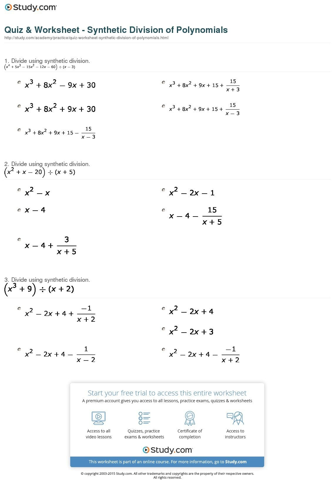 synthetic division worksheet with answers pdf. Black Bedroom Furniture Sets. Home Design Ideas