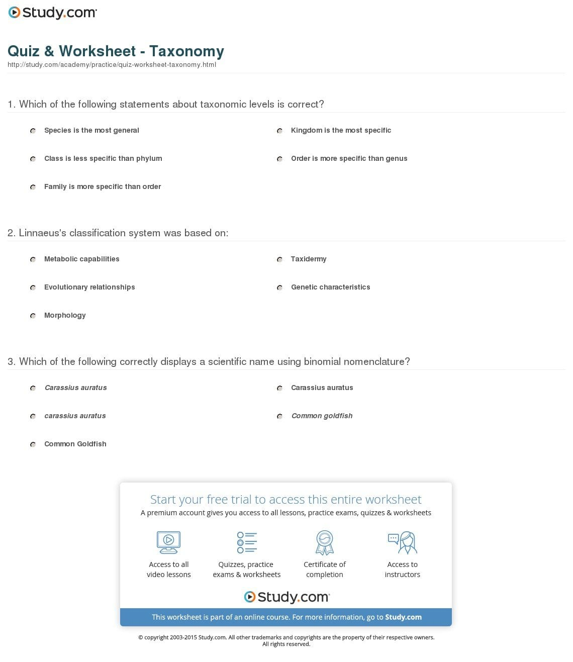 Quiz  Worksheet  Taxonomy  Study Or Taxonomy Worksheet Biology Answers
