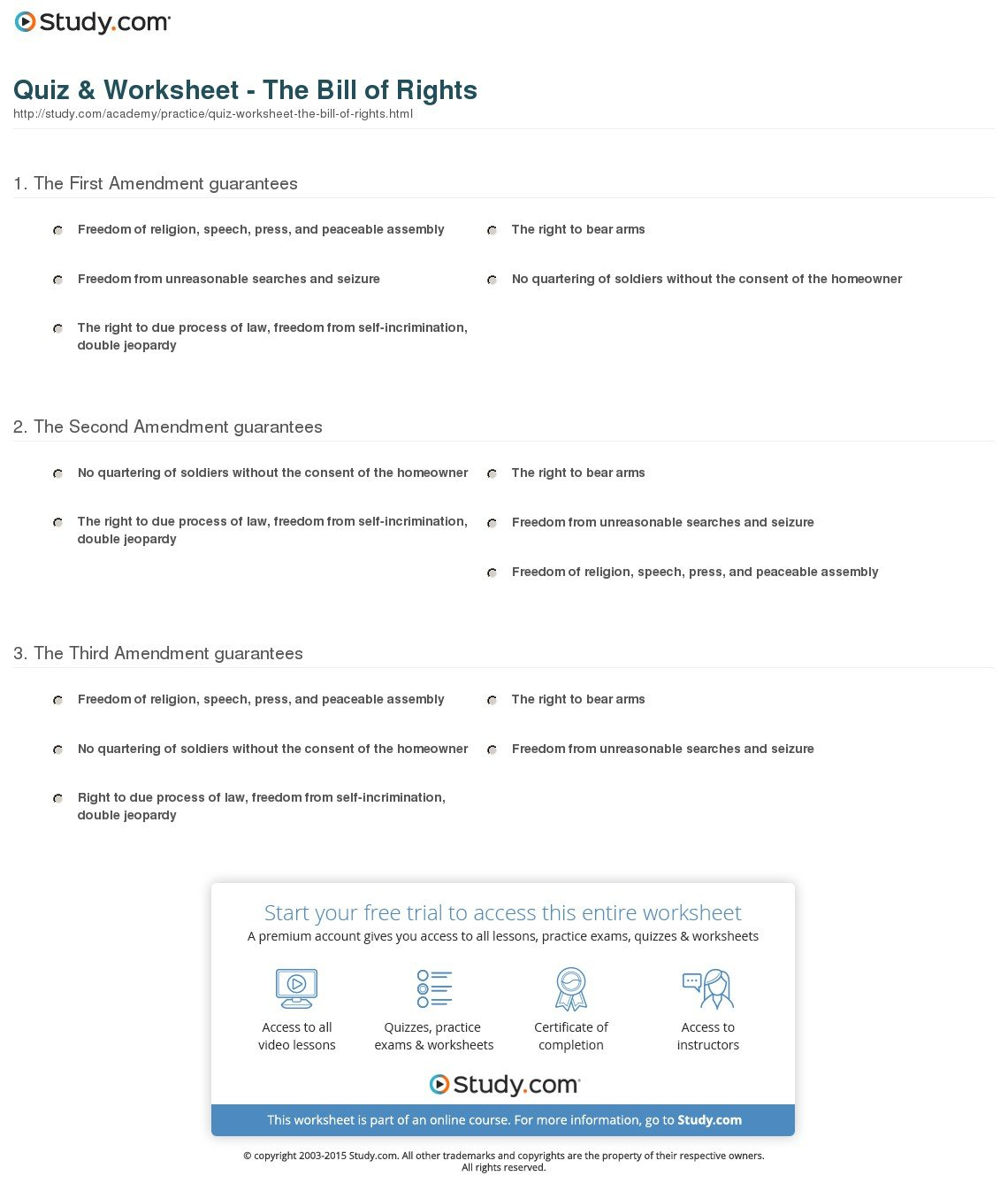 Quiz  Worksheet  The Bill Of Rights  Study And Bill Of Rights Worksheet High School
