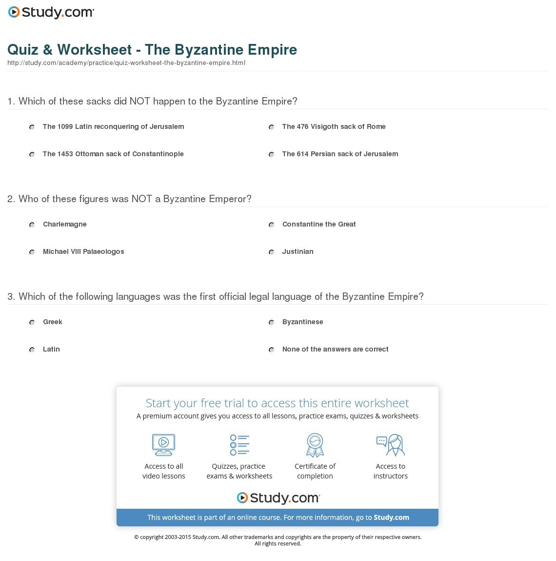 Quiz  Worksheet  The Byzantine Empire  Study Along With The Byzantines Engineering An Empire Worksheet Answers
