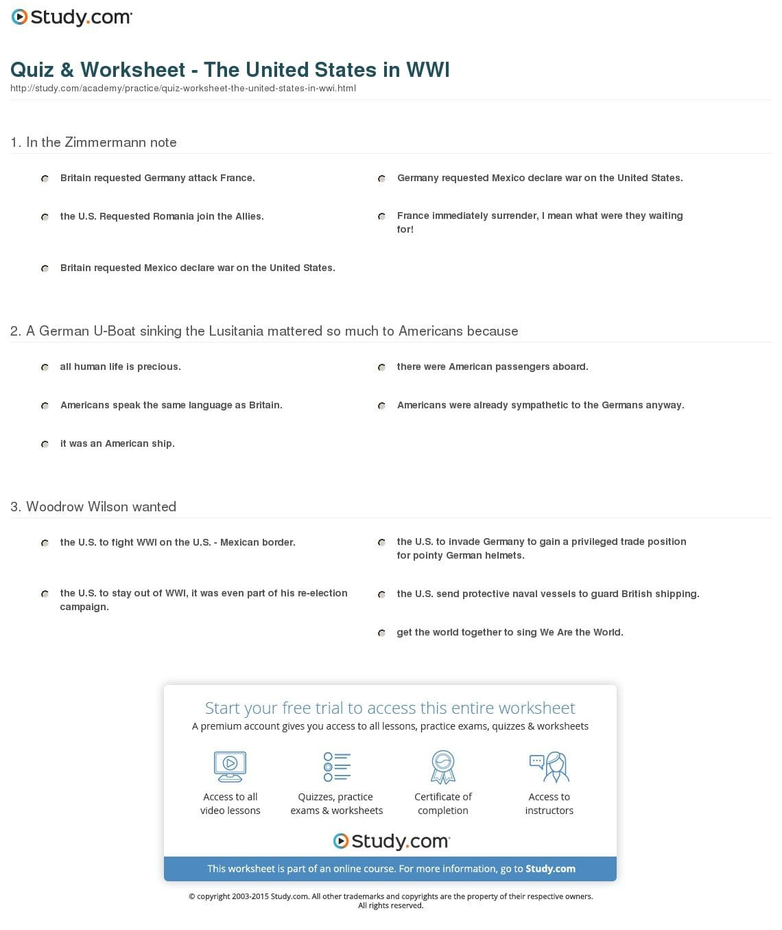 Quiz  Worksheet  The United States In Wwi  Study Along With The United States Entered World War 1 Worksheet Answers