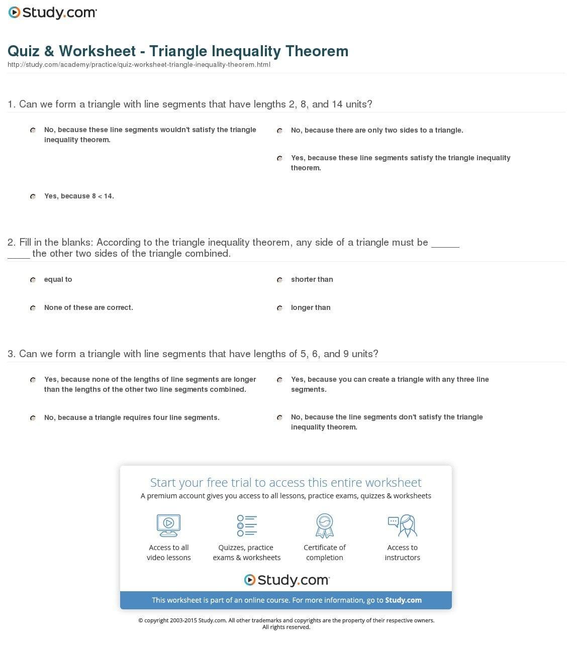 Quiz  Worksheet  Triangle Inequality Theorem  Study Or Triangle Inequality Worksheet