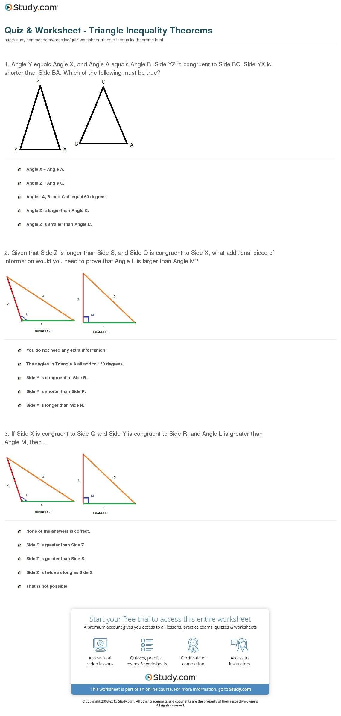 Quiz  Worksheet  Triangle Inequality Theorems  Study Within Triangle Inequality Worksheet