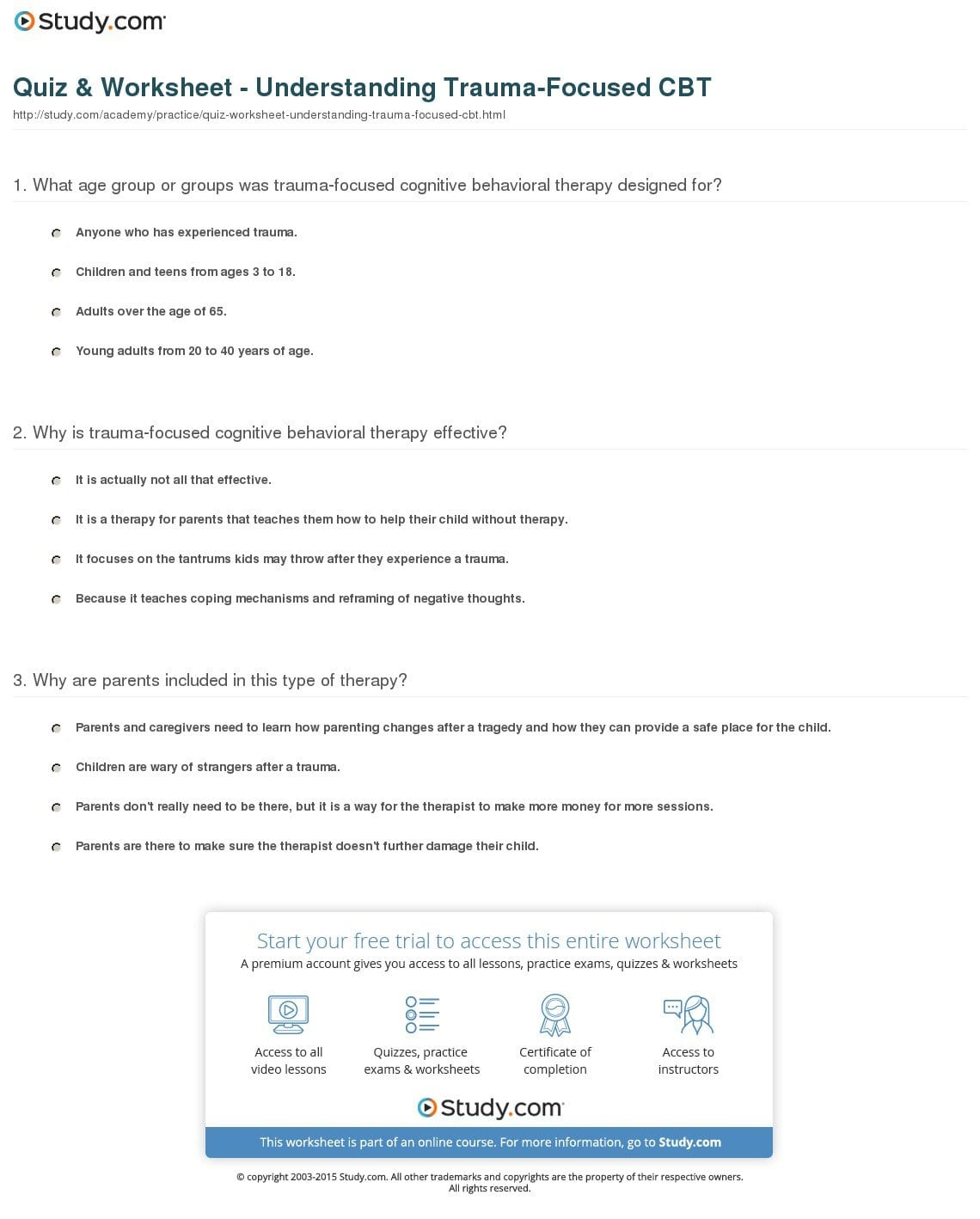 Quiz  Worksheet  Understanding Traumafocused Cbt  Study With Trauma Worksheets Therapy