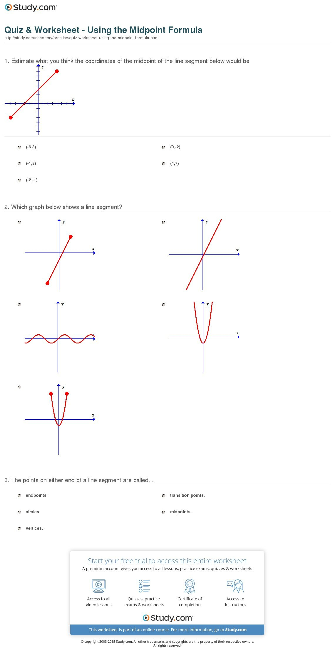 Quiz  Worksheet  Using The Midpoint Formula  Study Within The Midpoint Formula Worksheet
