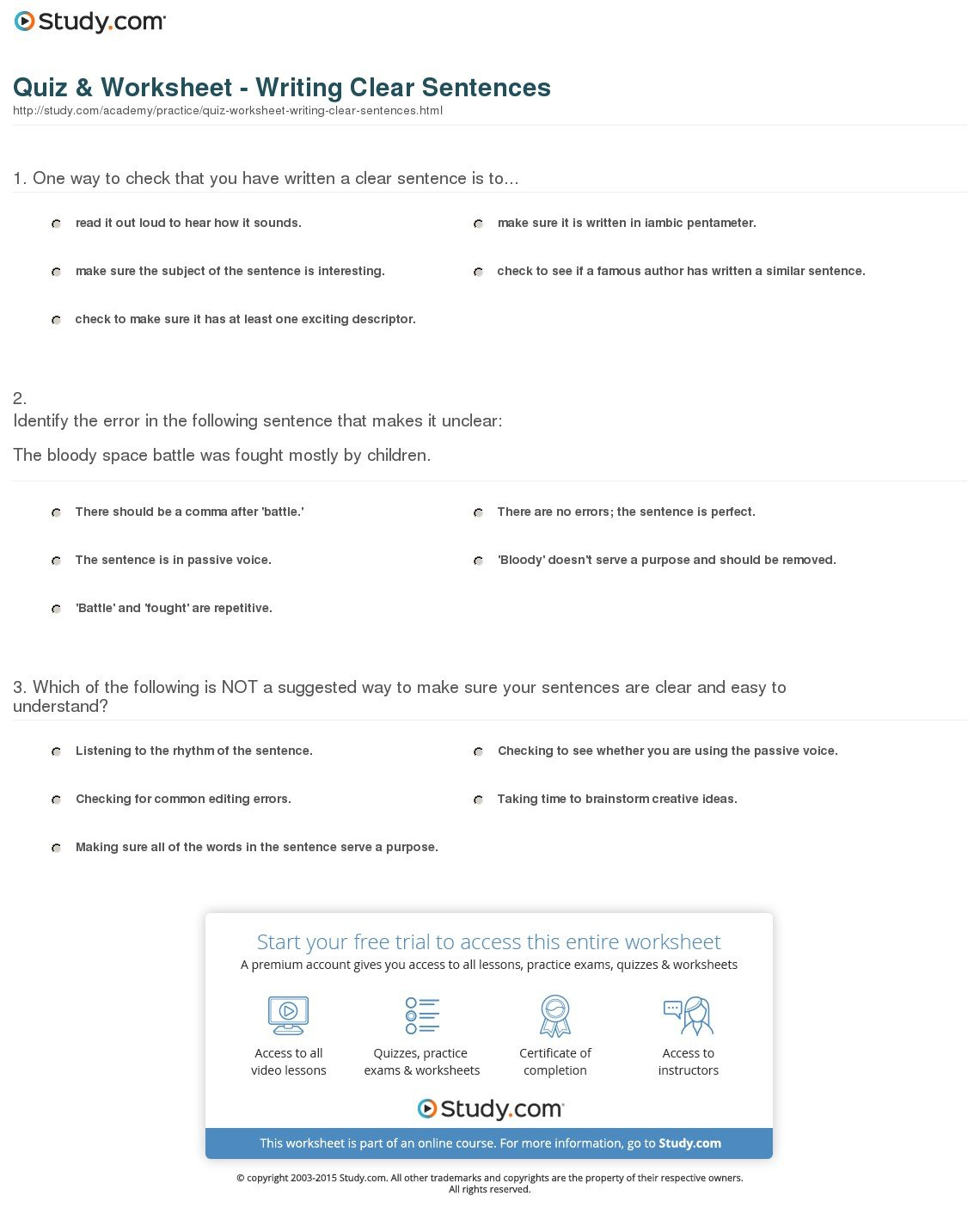 Quiz  Worksheet  Writing Clear Sentences  Study With Check Writing Lessons Worksheets
