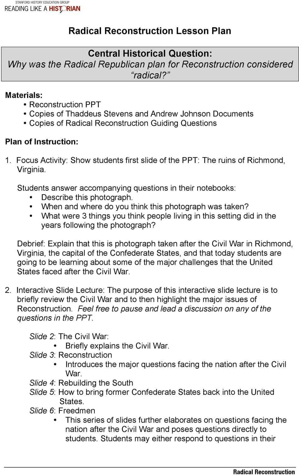 Radical Reconstruction Lesson Plan Central Historical Question Why As Well As Radical Republican Reconstruction Worksheet Answers