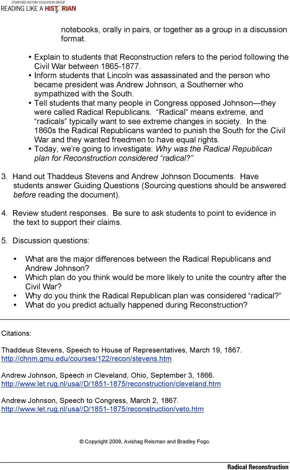 Radical Reconstruction Lesson Plan Central Historical Question Why Inside Radical Republican Reconstruction Worksheet Answers