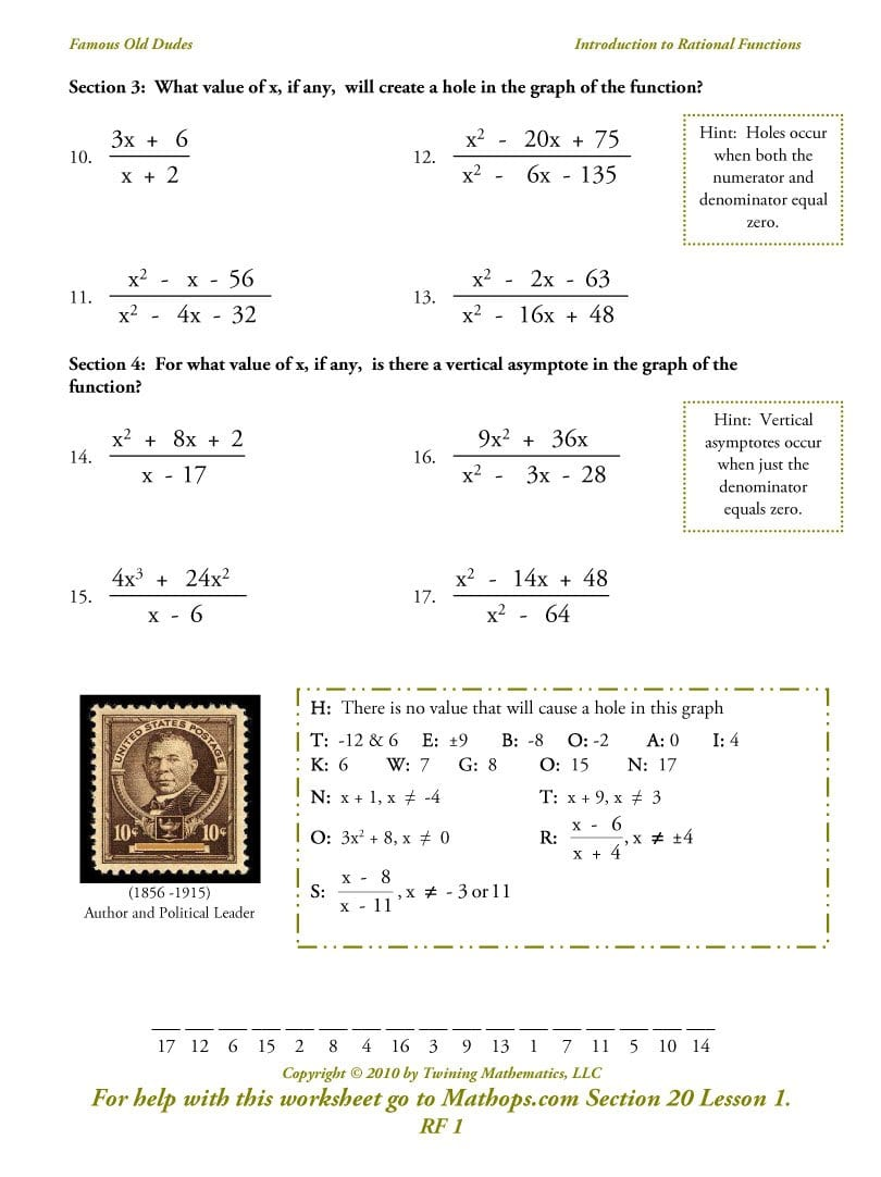 Rational Functions Worksheet Mean Median Mode Range Worksheet With Regard To Rational Functions Worksheet