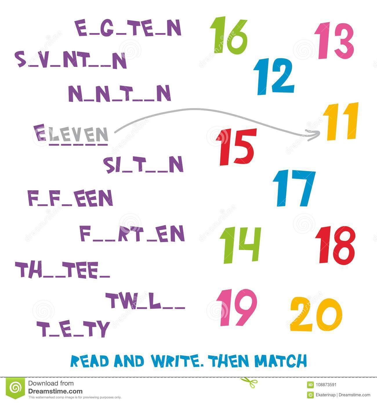 Read And Write Then Match The Numbers 11 To 20 Kids Words Learning Pertaining To Learning English For Kids Worksheets