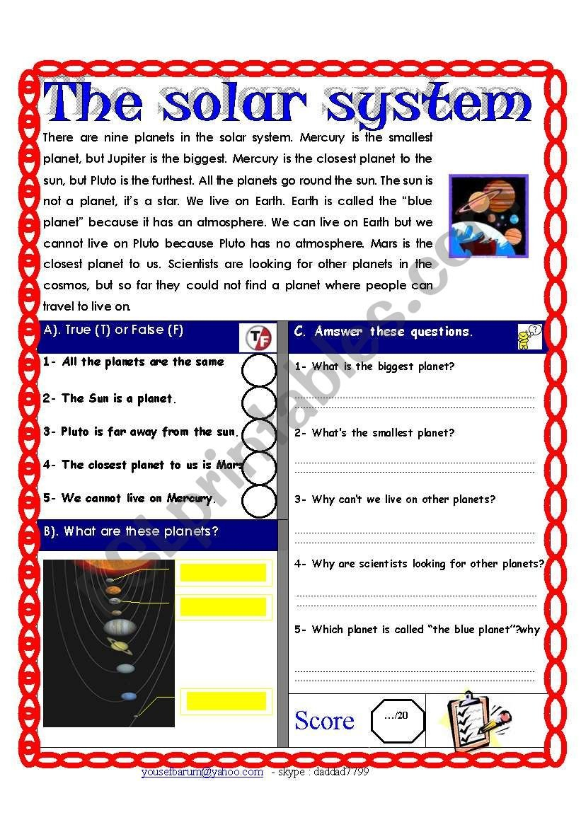 Reading Comprehension Test  Theme The Solar System  Esl Together With Solar System Reading Comprehension Worksheets