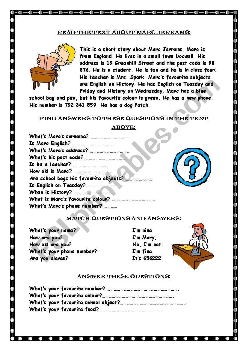 Reading Comprehension  Whquestions  Esl Worksheetmarywell Or Comprehension Worksheets With Questions