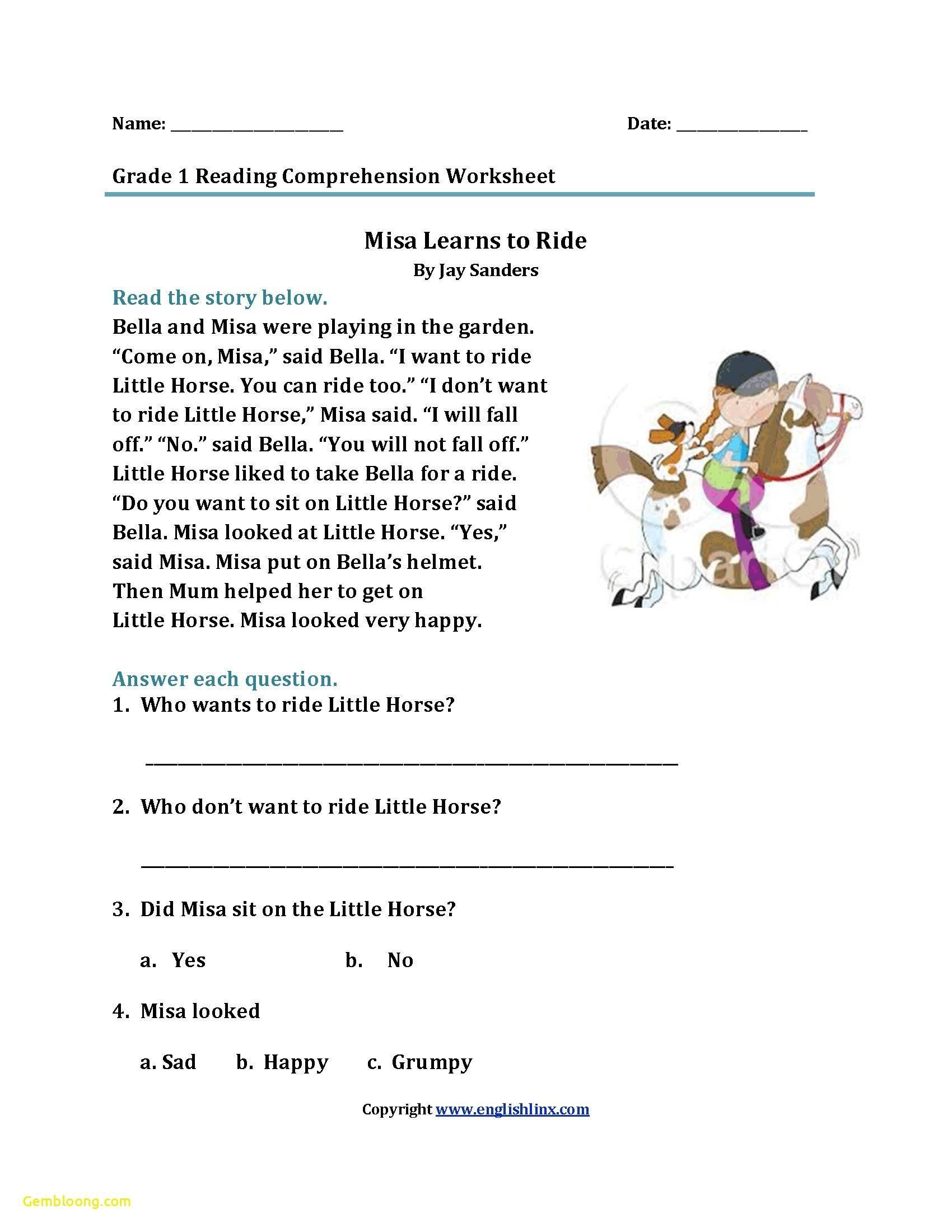 Reading Comprehension Worksheets For 1St Grade  Cramerforcongress With Comprehension Worksheets For Grade 1