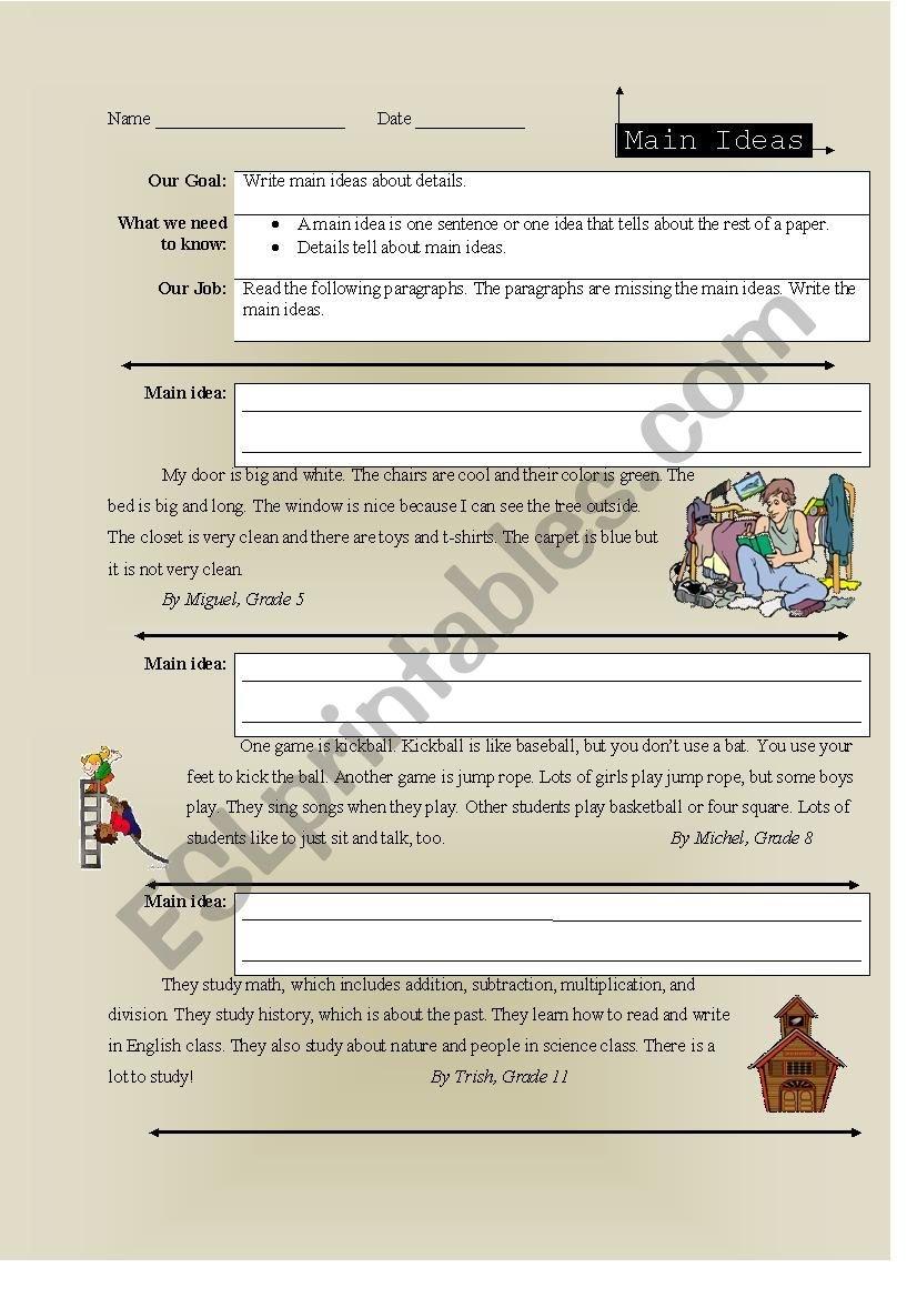 Reading Comprehension Writing Main Ideas  Esl Worksheetmvblair And Reading Comprehension Main Idea Worksheets