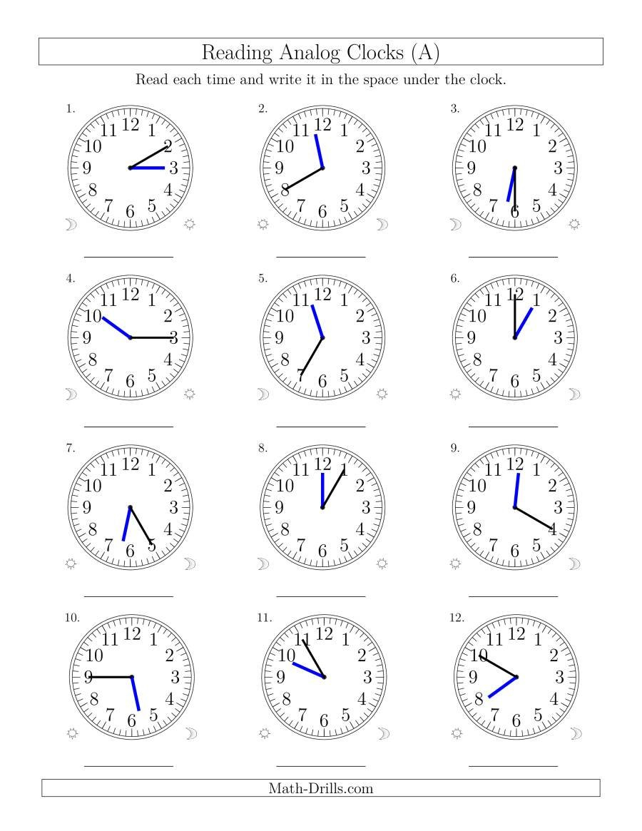 Reading Time On 12 Hour Analog Clocks In 5 Minute Intervals A With Regard To Clock Quiz Worksheet