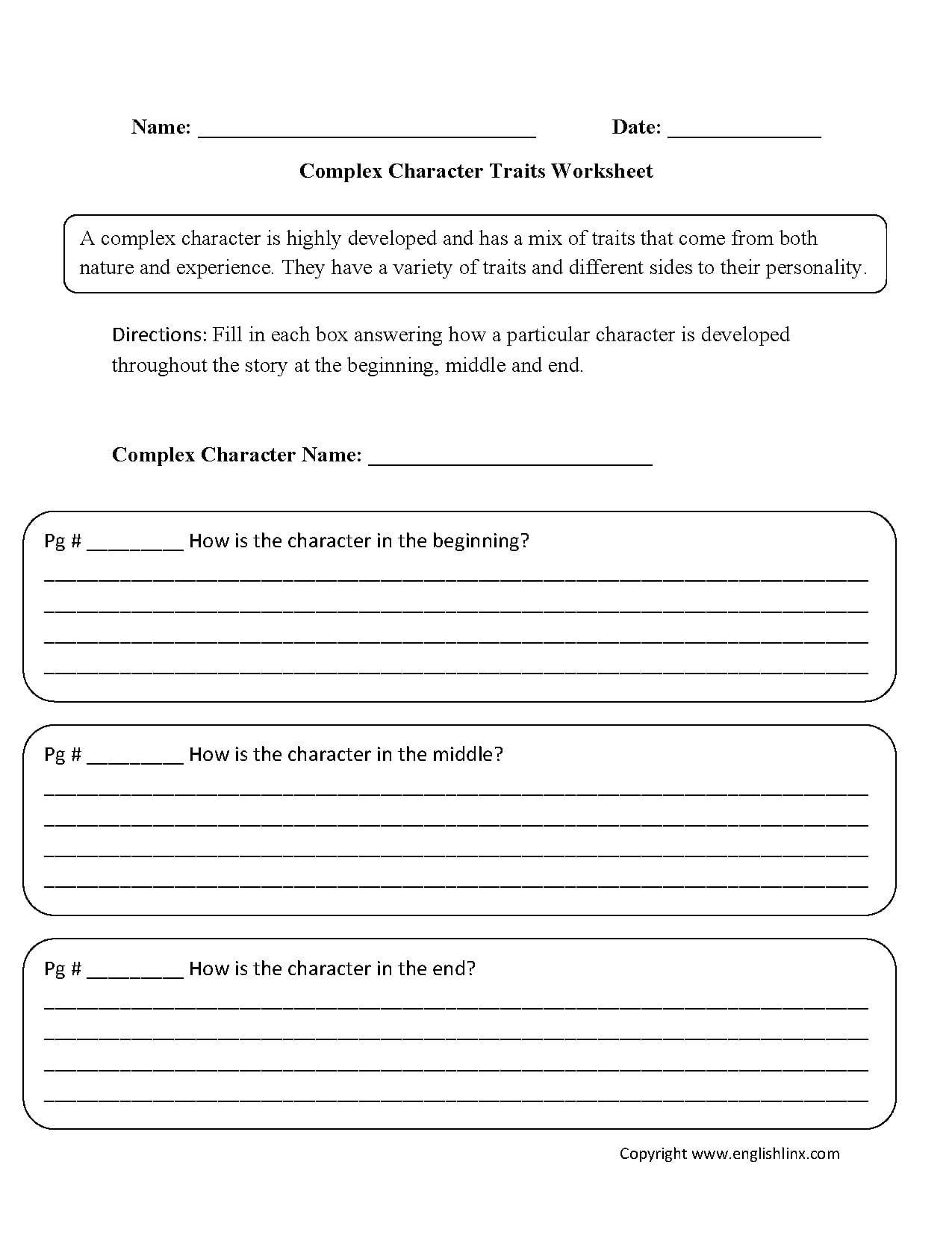 Reading Worksheets  Character Traits Worksheets For Character Traits Worksheet 3Rd Grade