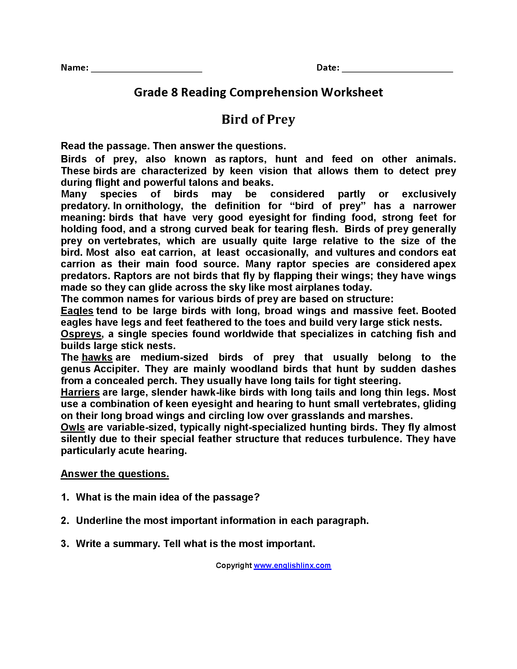 Reading Worksheets  Eighth Grade Reading Worksheets With Regard To 8Th Grade Reading Worksheets