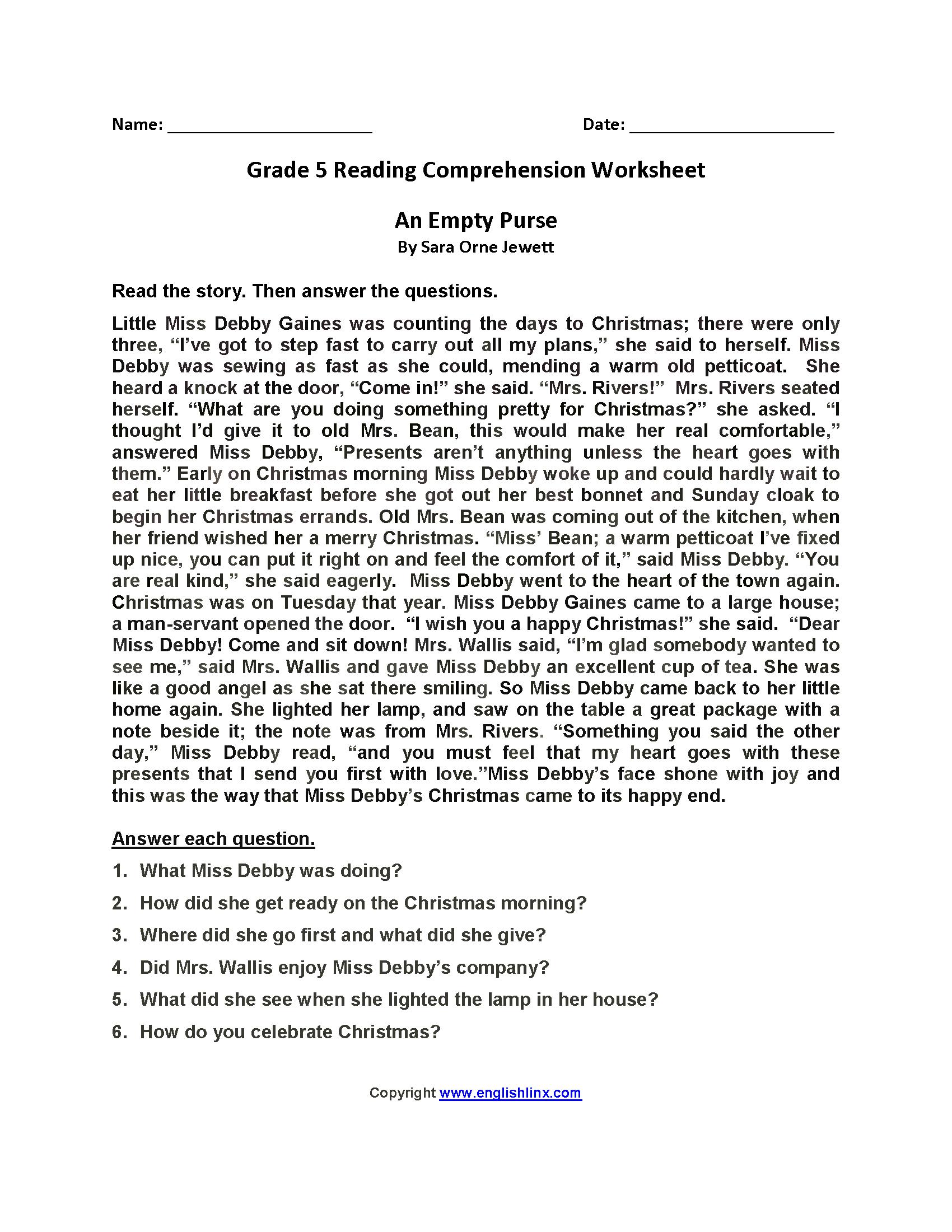 Reading Worksheets  Fifth Grade Reading Worksheets And Comprehension Worksheets For Grade 5