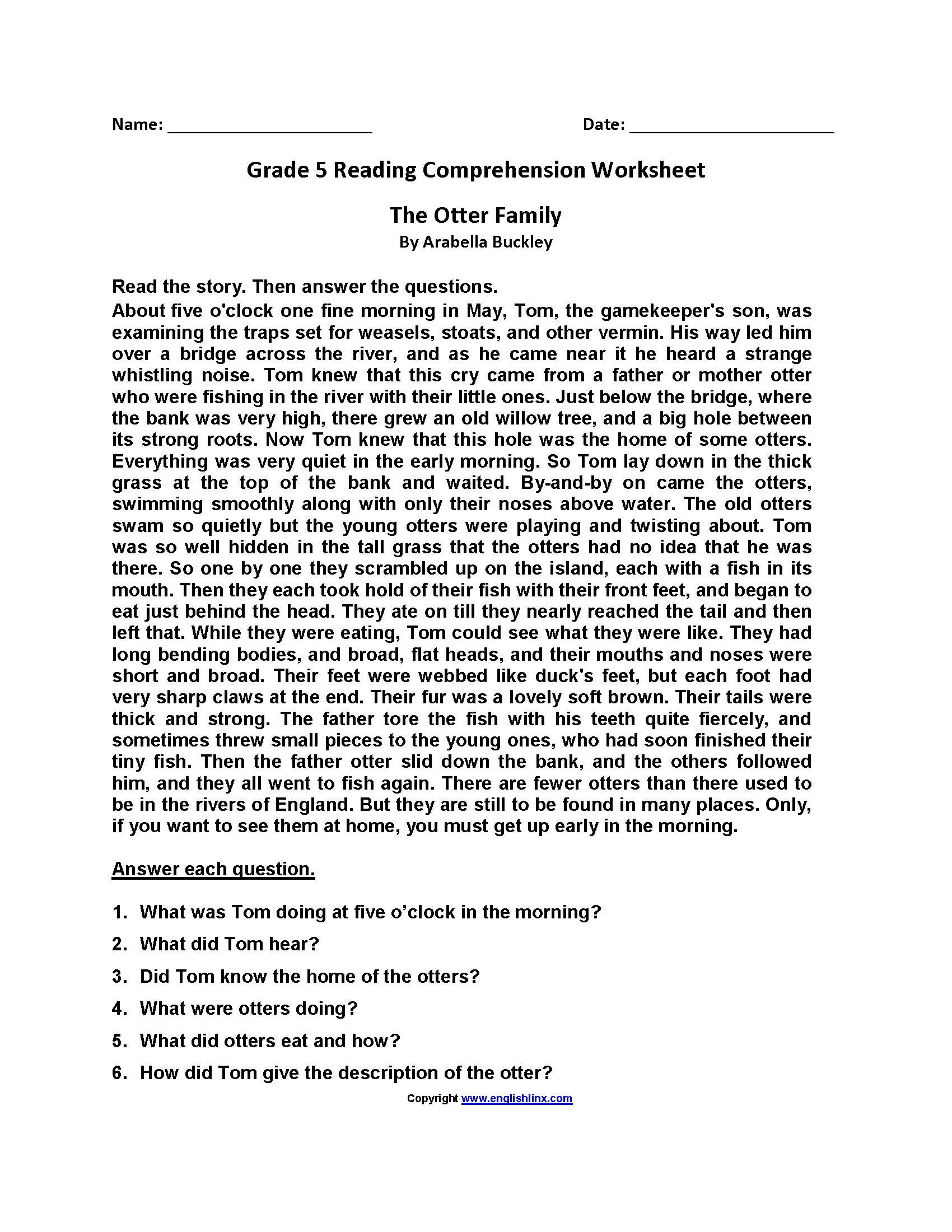 Reading Worksheets  Fifth Grade Reading Worksheets Or Comprehension Worksheets For Grade 5