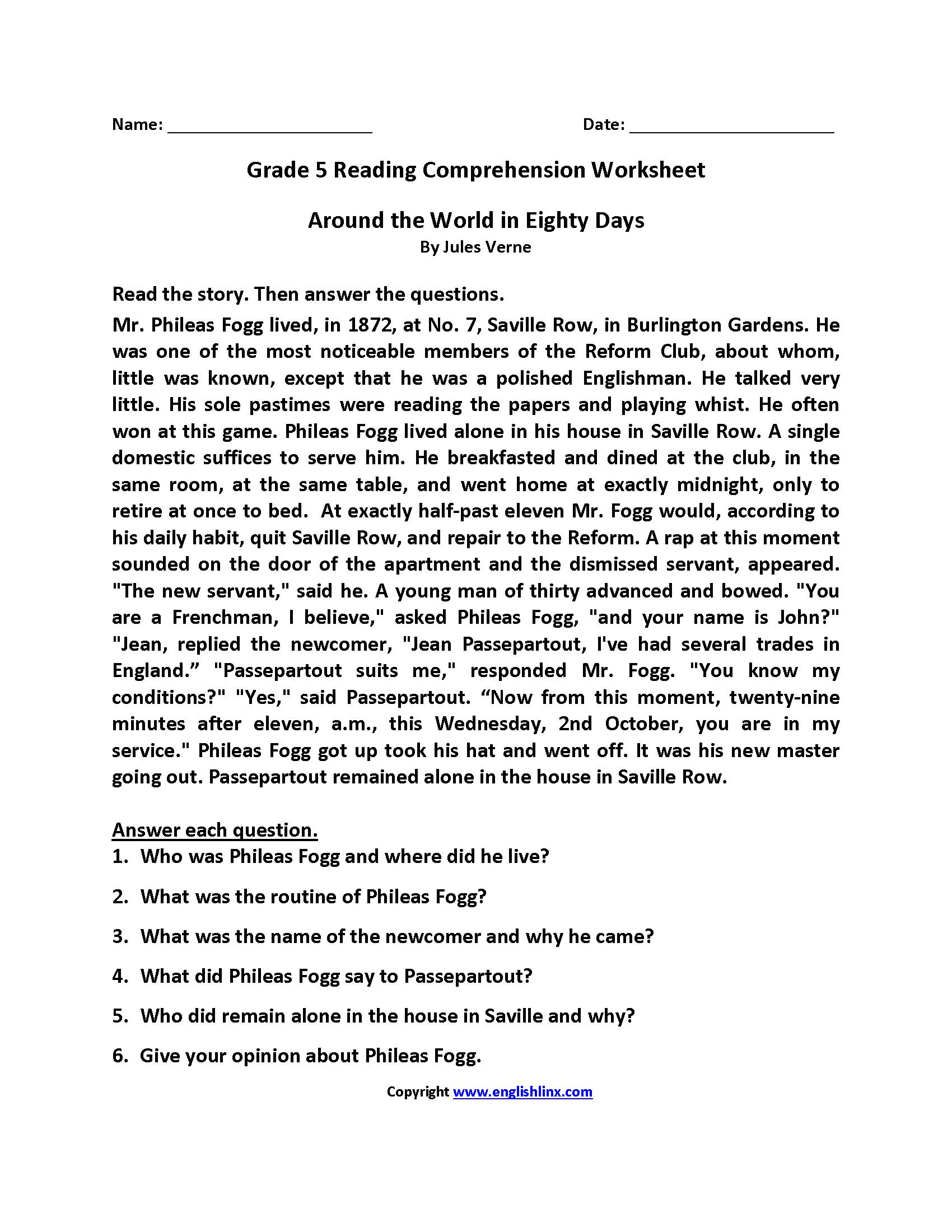 Reading Worksheets  Fifth Grade Reading Worksheets Together With Comprehension Worksheets For Grade 5