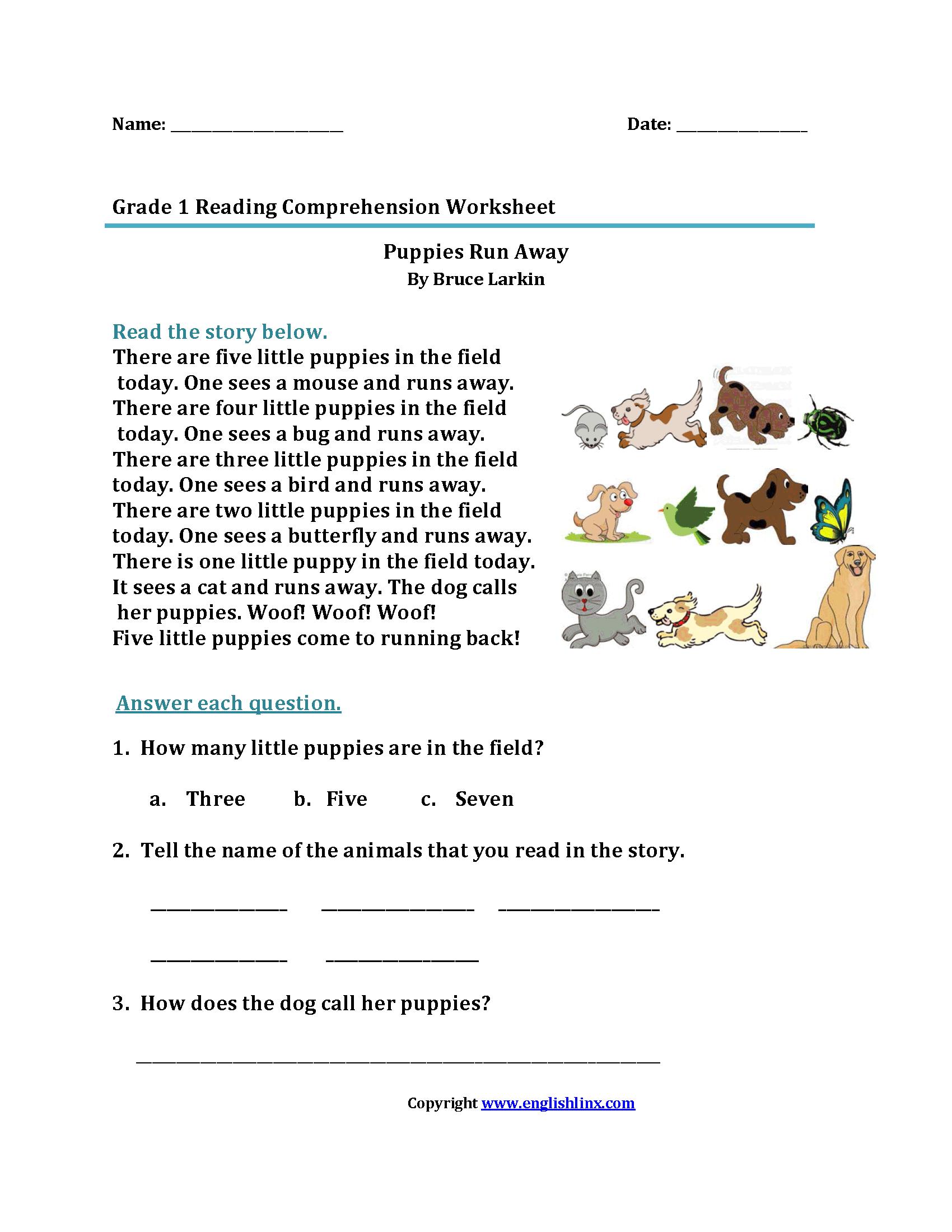 Reading Worksheets  First Grade Reading Worksheets Intended For Comprehension Worksheets For Grade 1