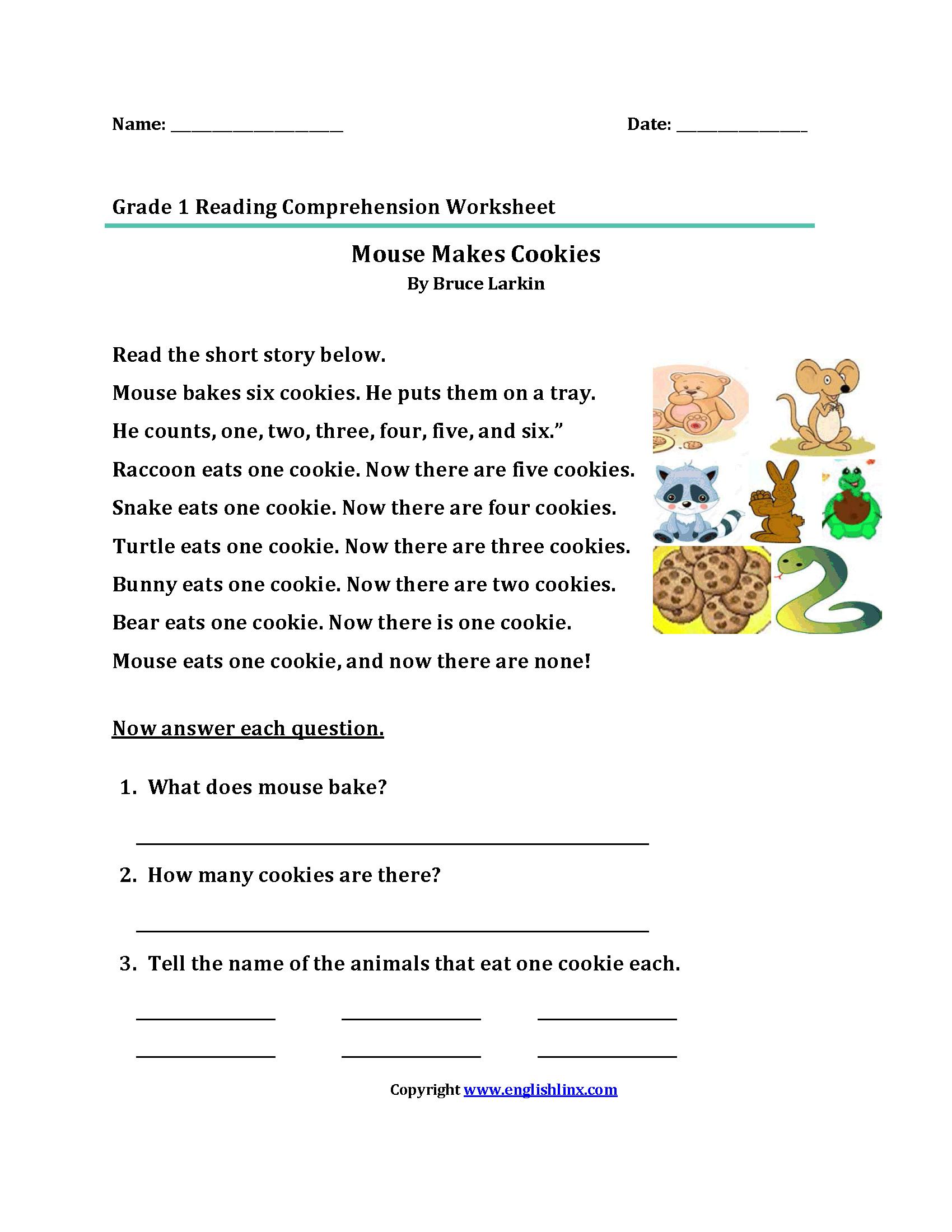 Reading Worksheets  First Grade Reading Worksheets Together With Comprehension Worksheets For Grade 1